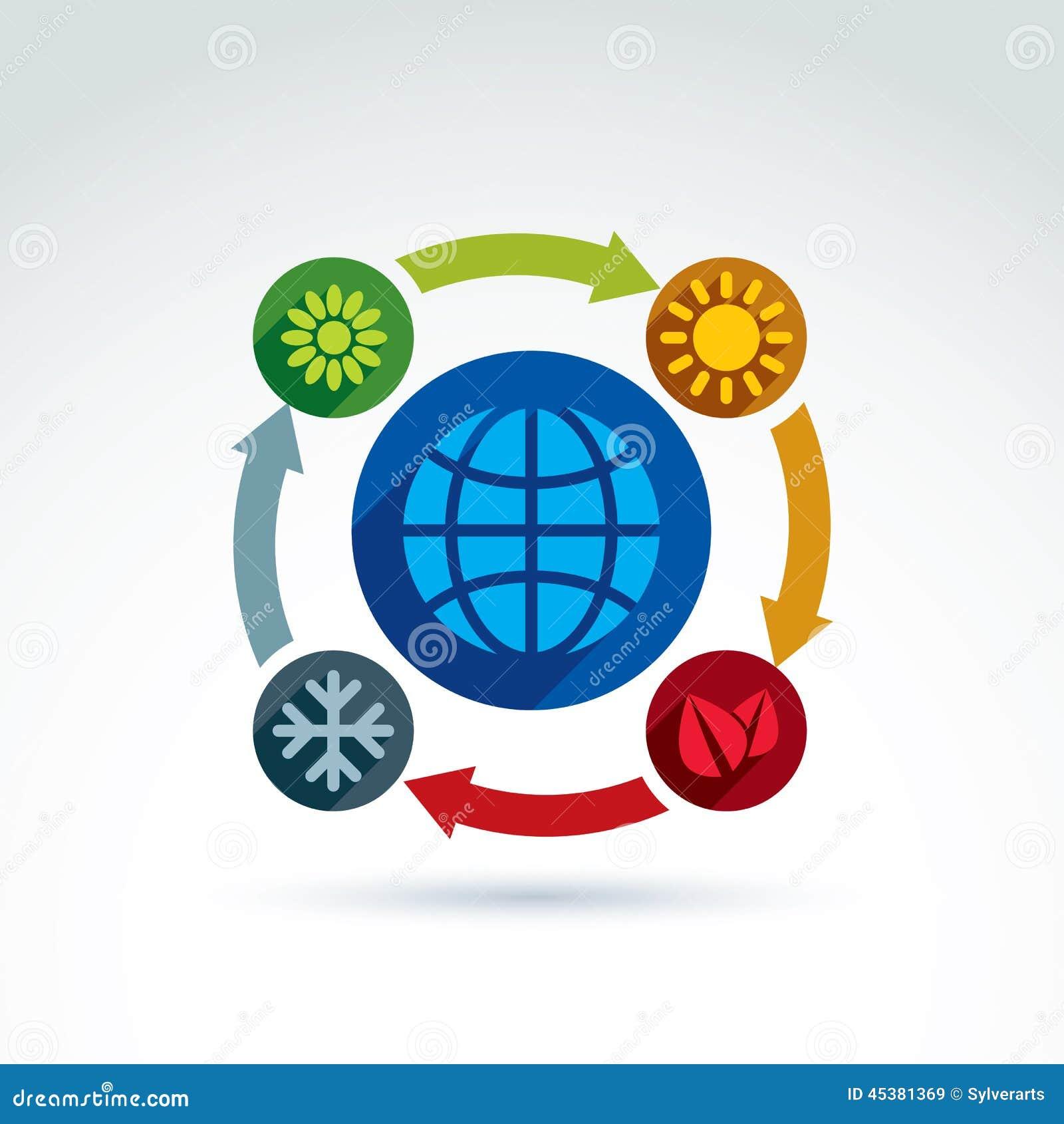 Verbonden cirkels met groene seizoensymbolen
