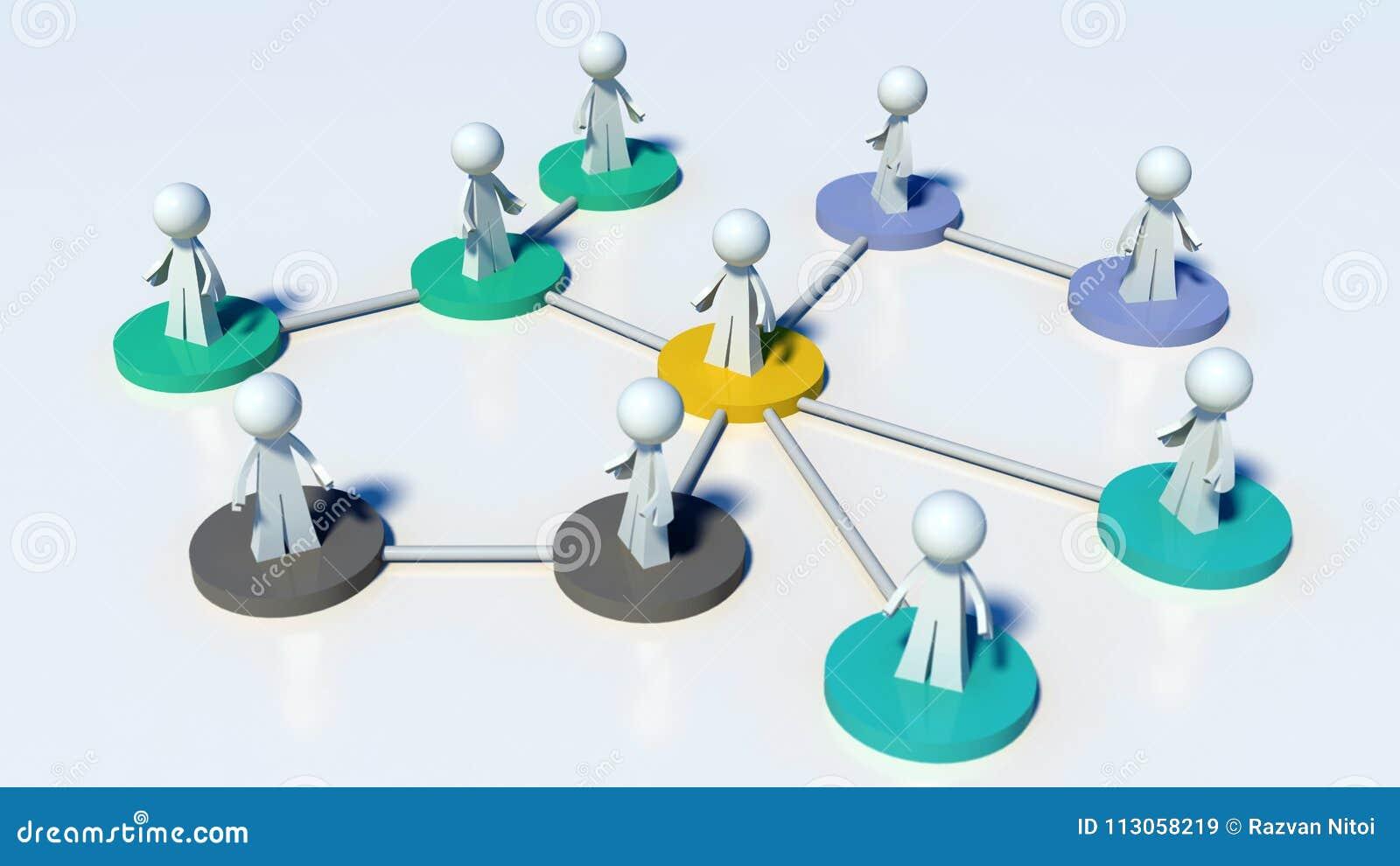 Verbonden netwerk van mensen - mededeling of hiërarchie