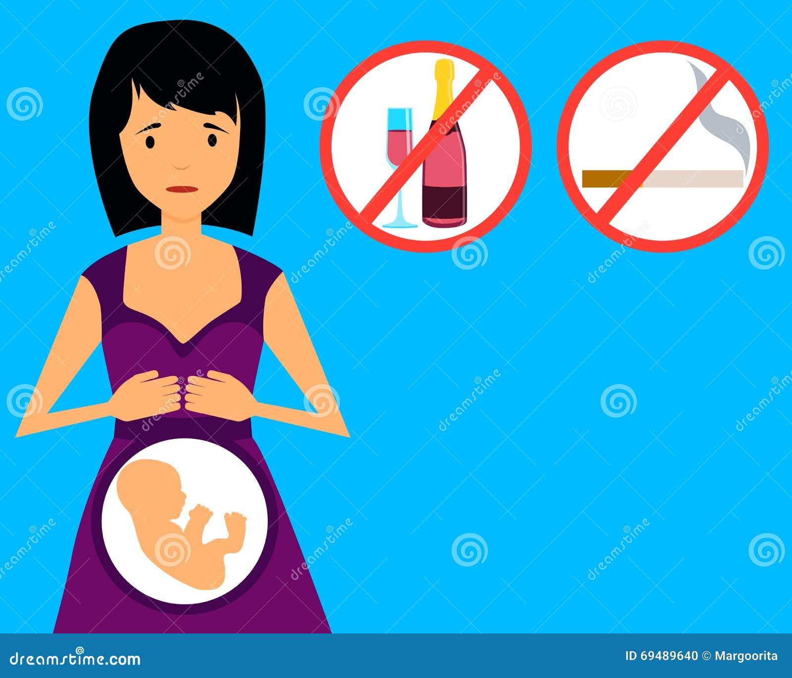 Verbote Für Schwangere Frauen Vektor Abbildung Illustration Von