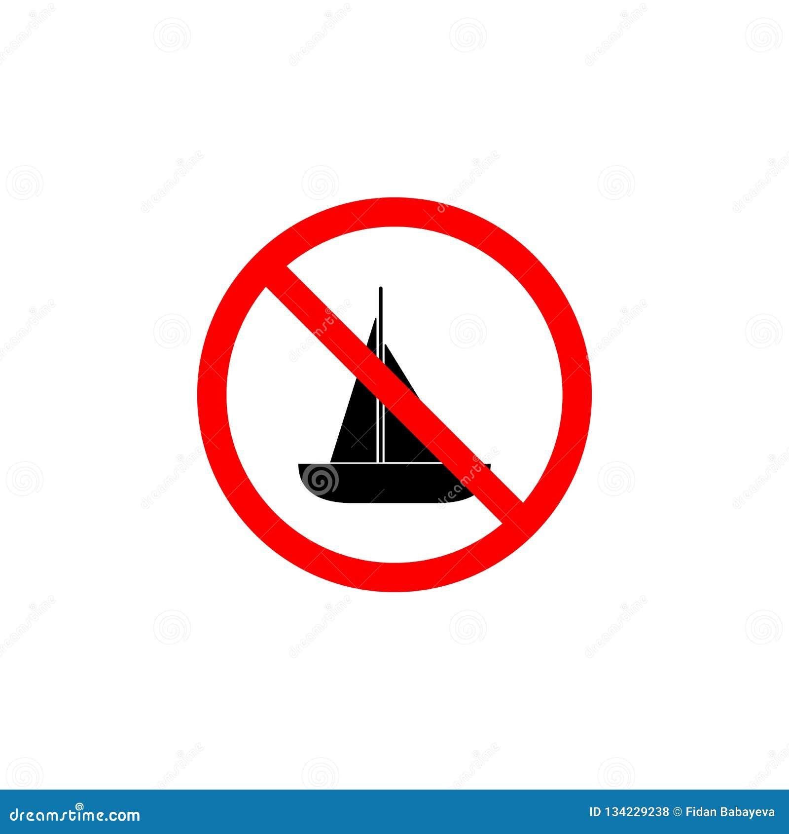 Verbotene Bootsikone auf weißem Hintergrund kann für Netz, Logo, mobiler App, UI UX benutzt werden