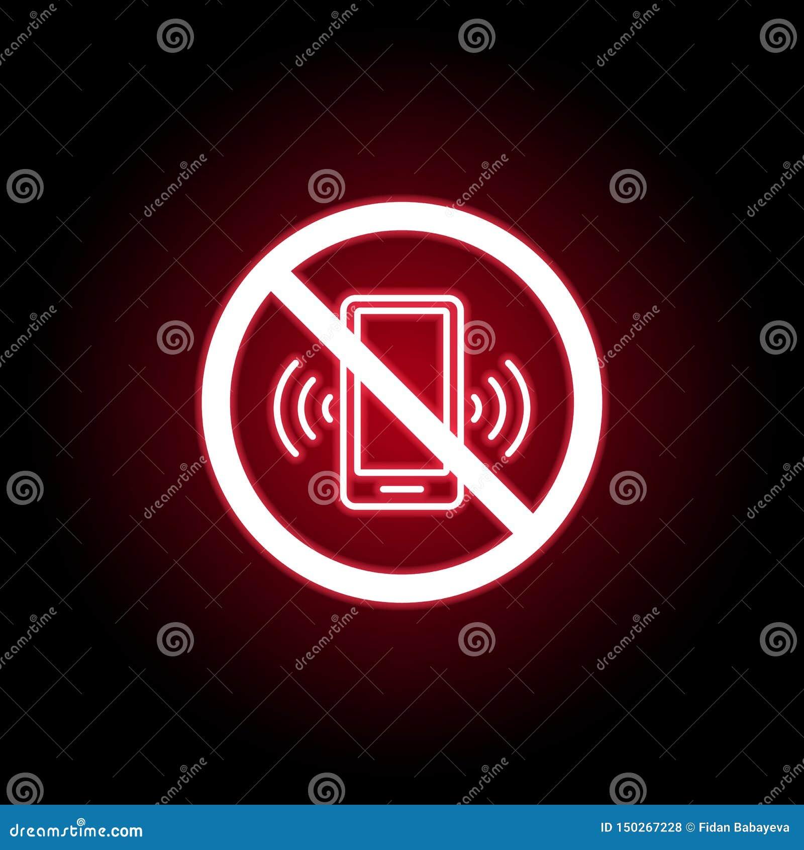 Verbotene Telefonanrufikone in der roten Neonart Kann f?r Netz, Logo, mobiler App, UI, UX verwendet werden