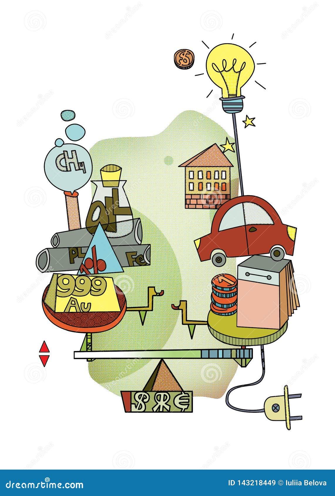 Verbrauch oder Investition Langlebigkeit und Wahl Skalen mit Symbolen des unterschiedlichen Prinzips des Ausgabengeldes Pop-Art G