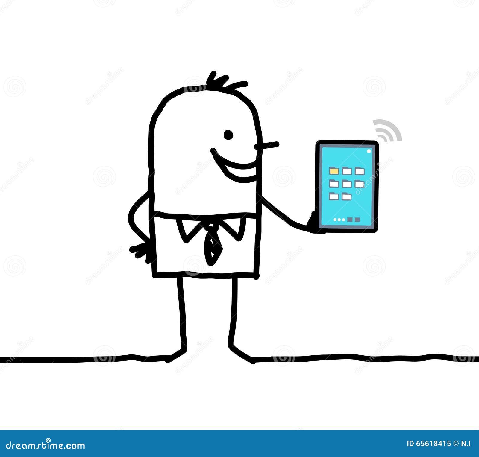 Verbundene digitale Tablette des Karikaturgeschäftsmannes Holding