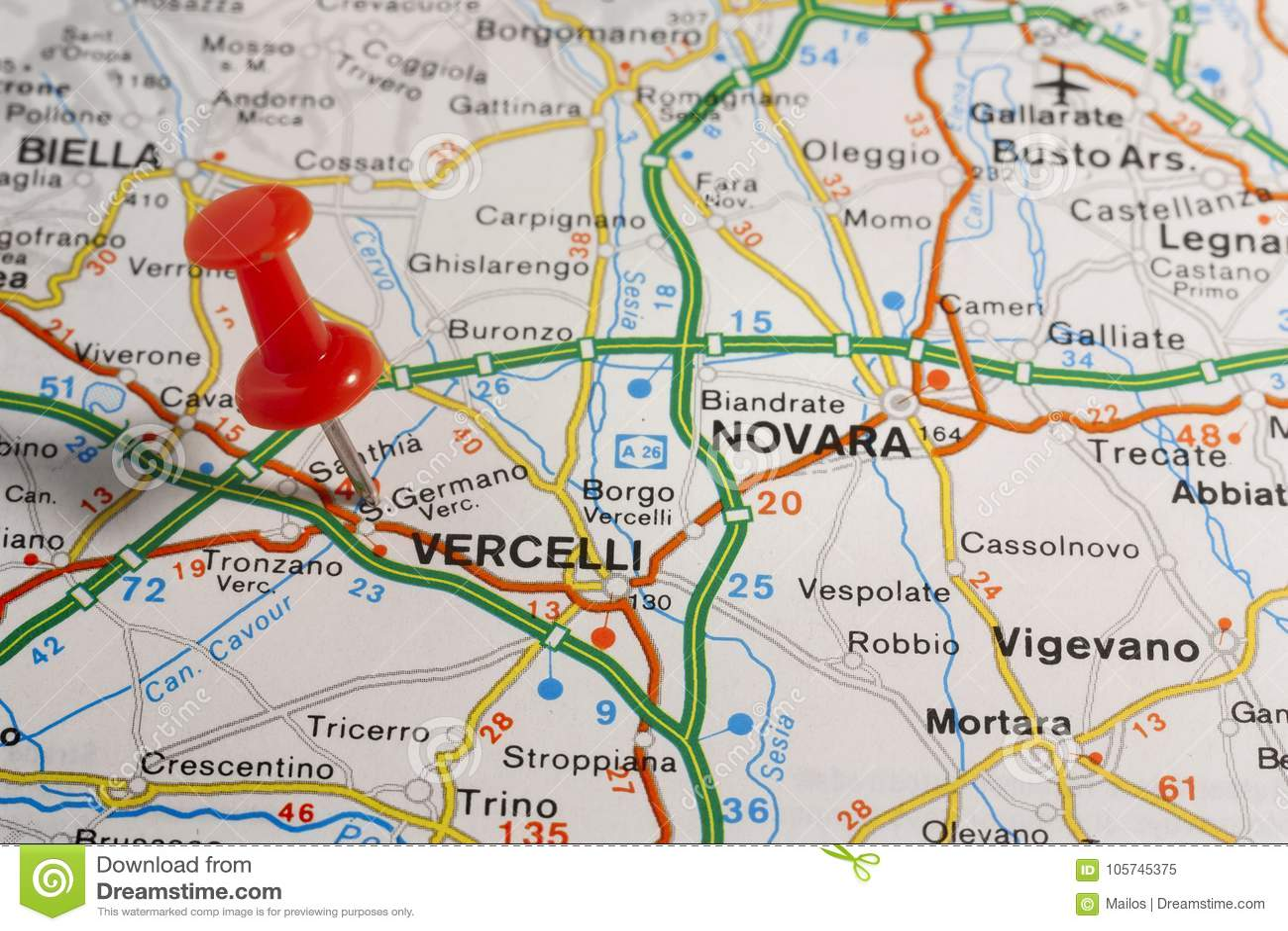 Vercelli ha appuntato su una mappa dell Italia