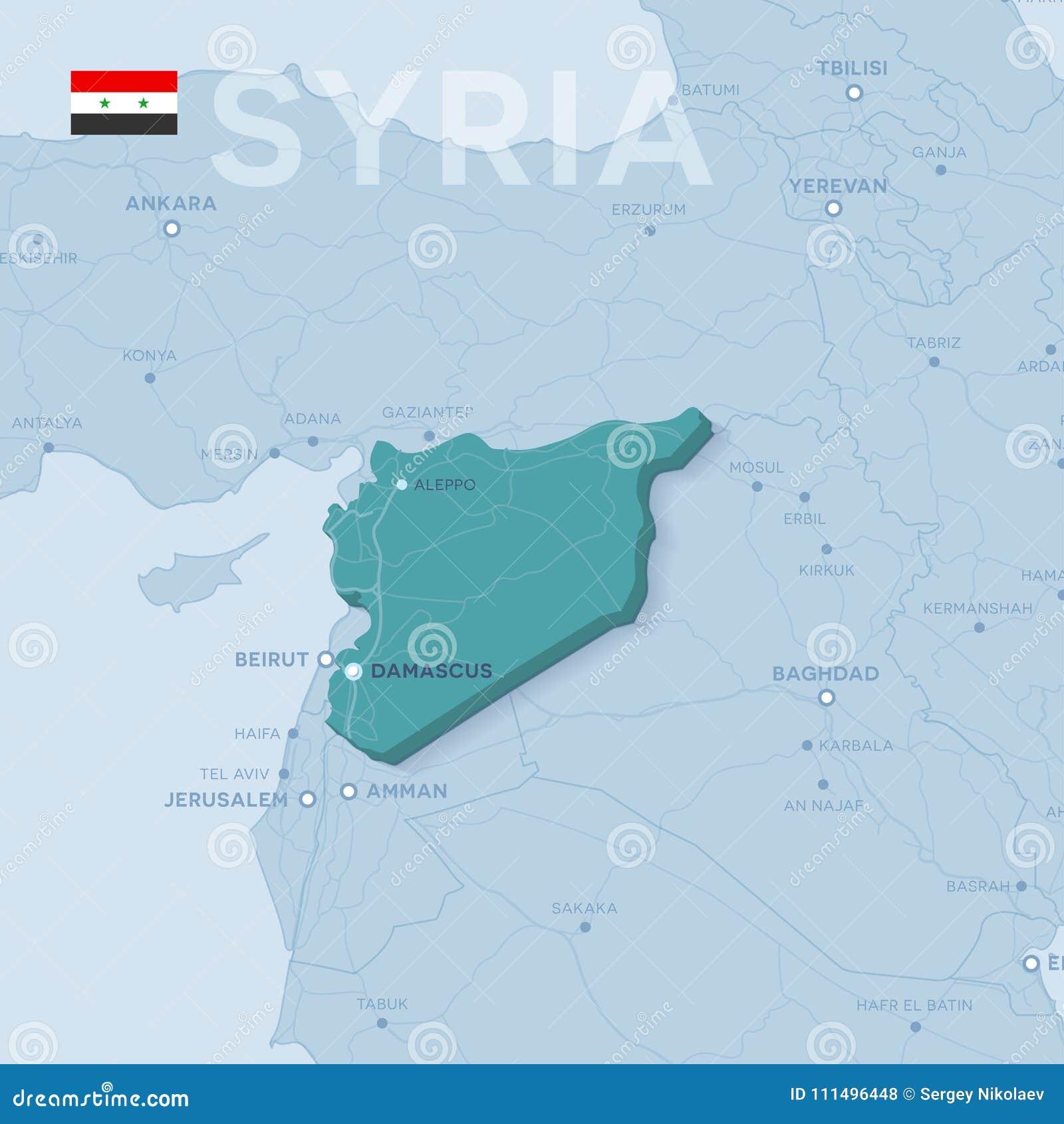 Syrien Karte Mit Städten.Verctor Karte Von Städten Und Von Straßen In Syrien Vektor Abbildung