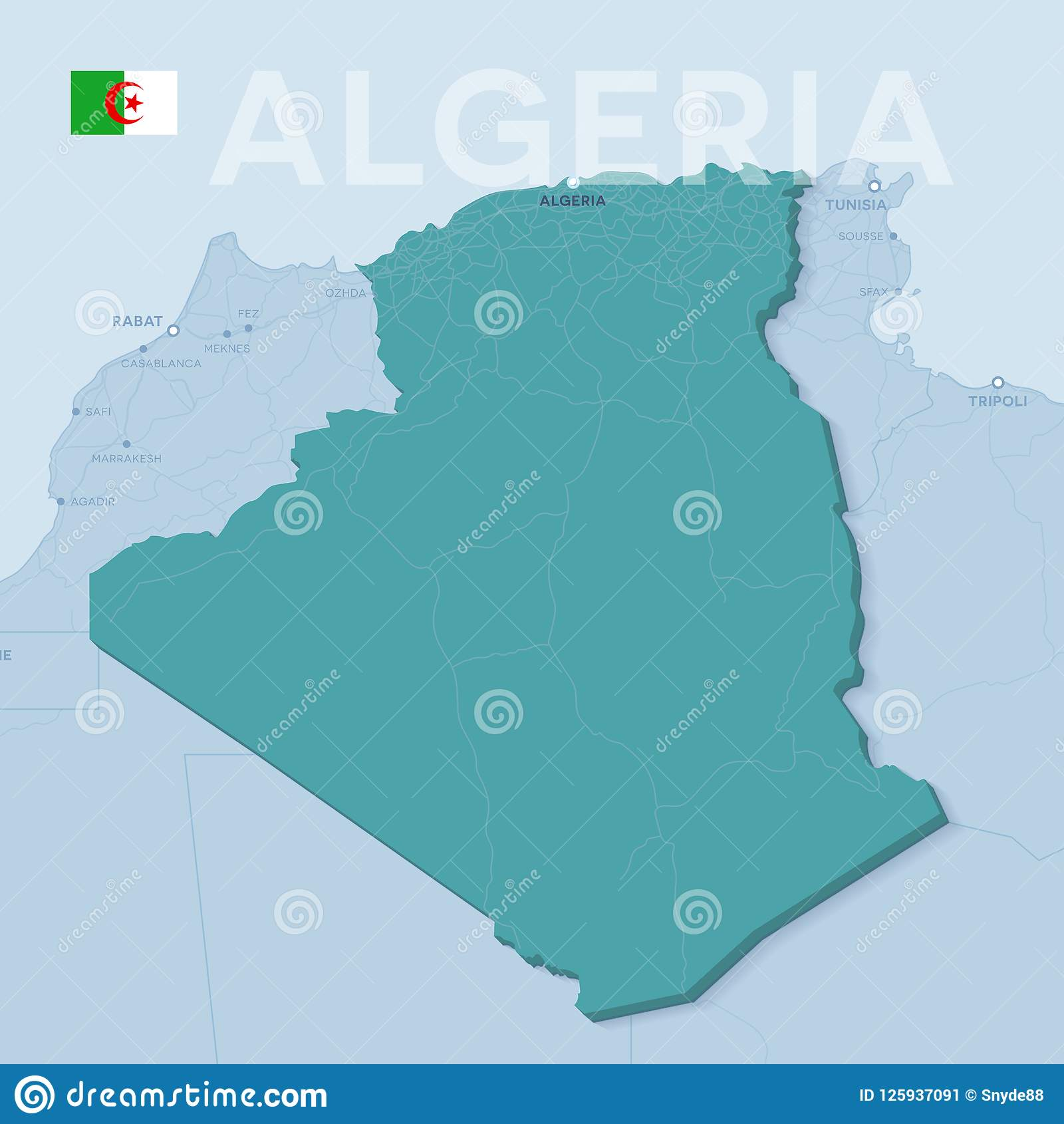 Verctor Map Of Cities And Roads In Algeria. Stock Vector ... on
