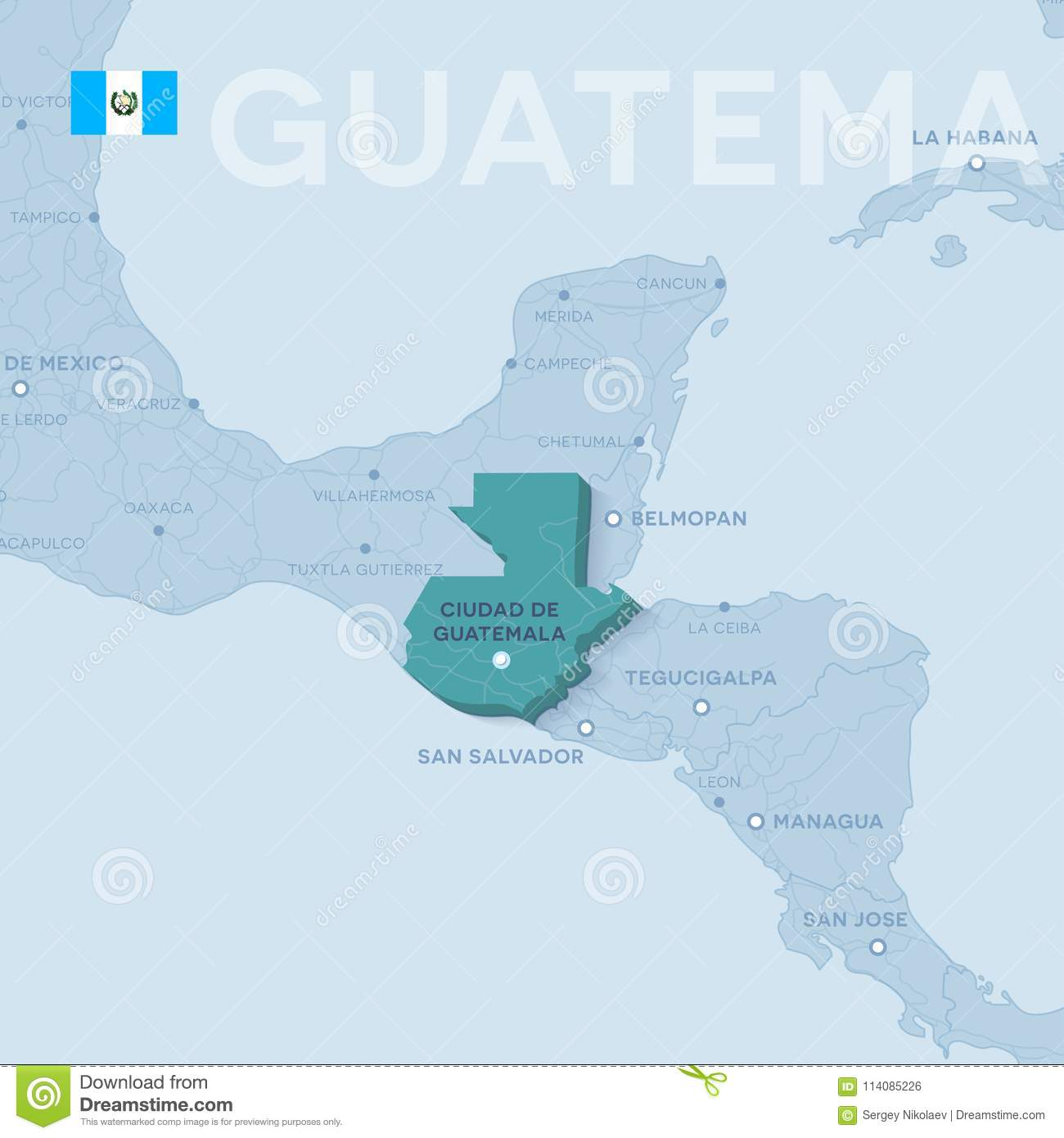 Verctor Map Of Cities And Roads In Guatemala. Stock Vector ...