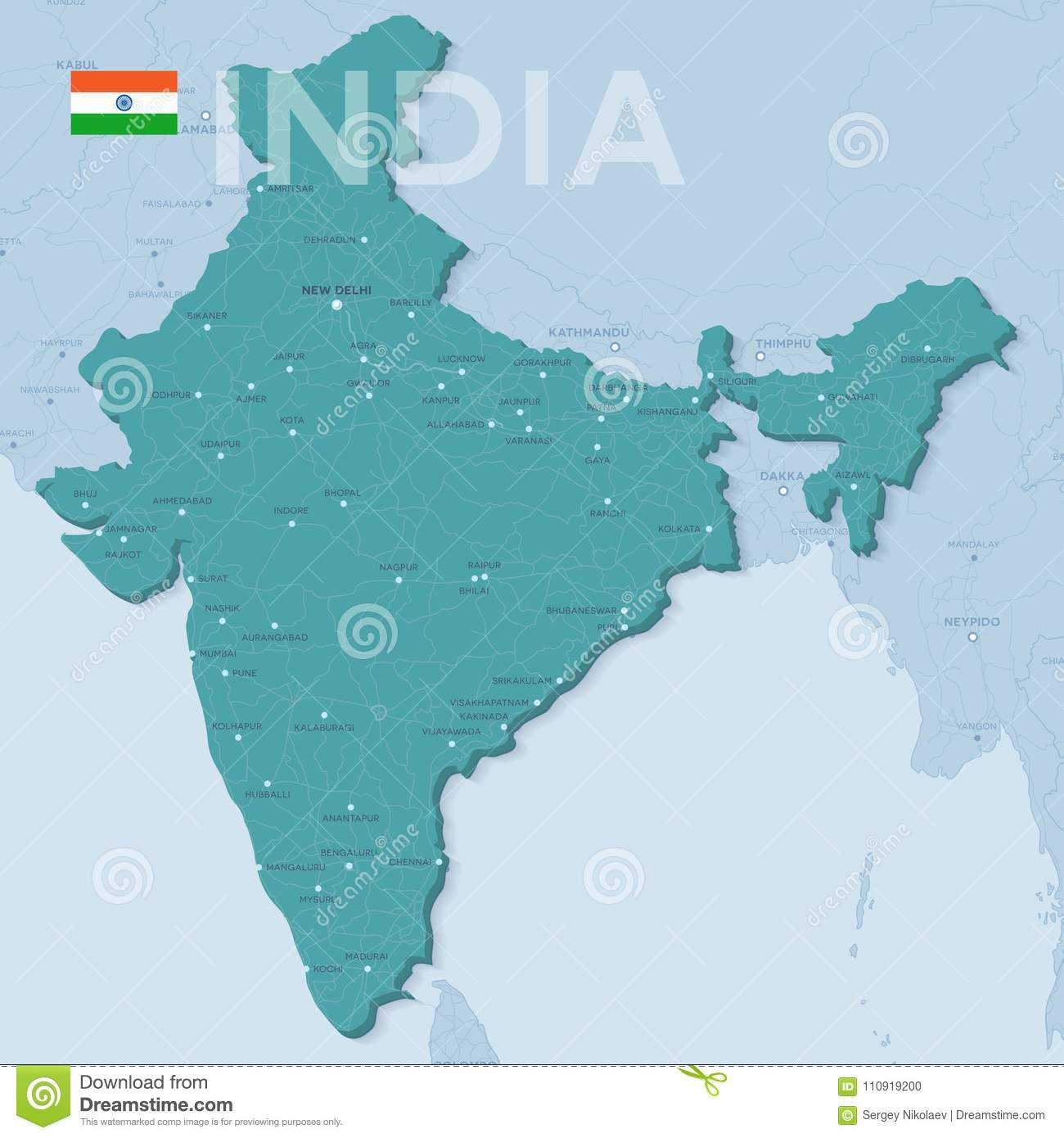 Verctor Map Of Cities And Roads In India. Stock Vector ...