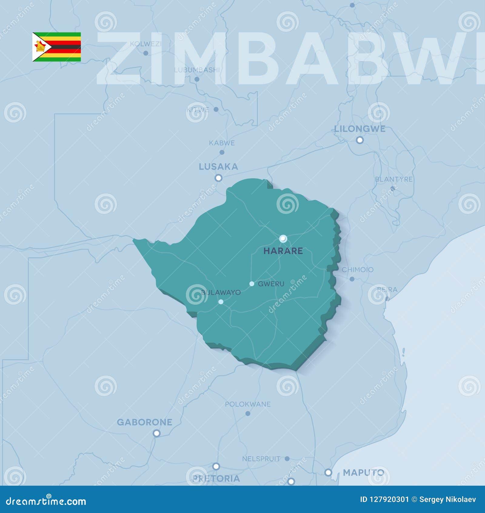 Map Of Africa Zimbabwe.Verctor Map Of Cities And Roads In Zimbabwe Stock Vector