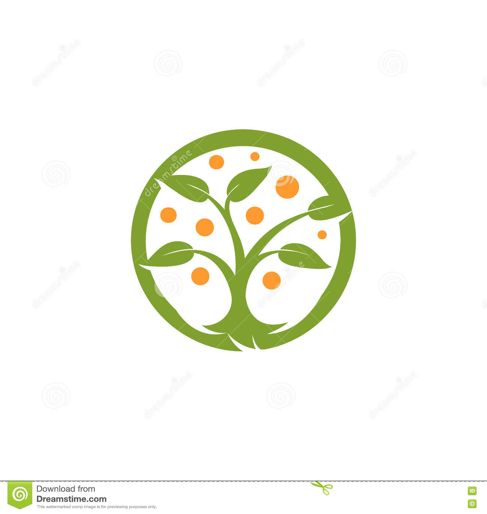 Verde abstracto aislado de la forma redonda, logotipo anaranjado del árbol del color Logotipo natural del elemento Hojas e icono