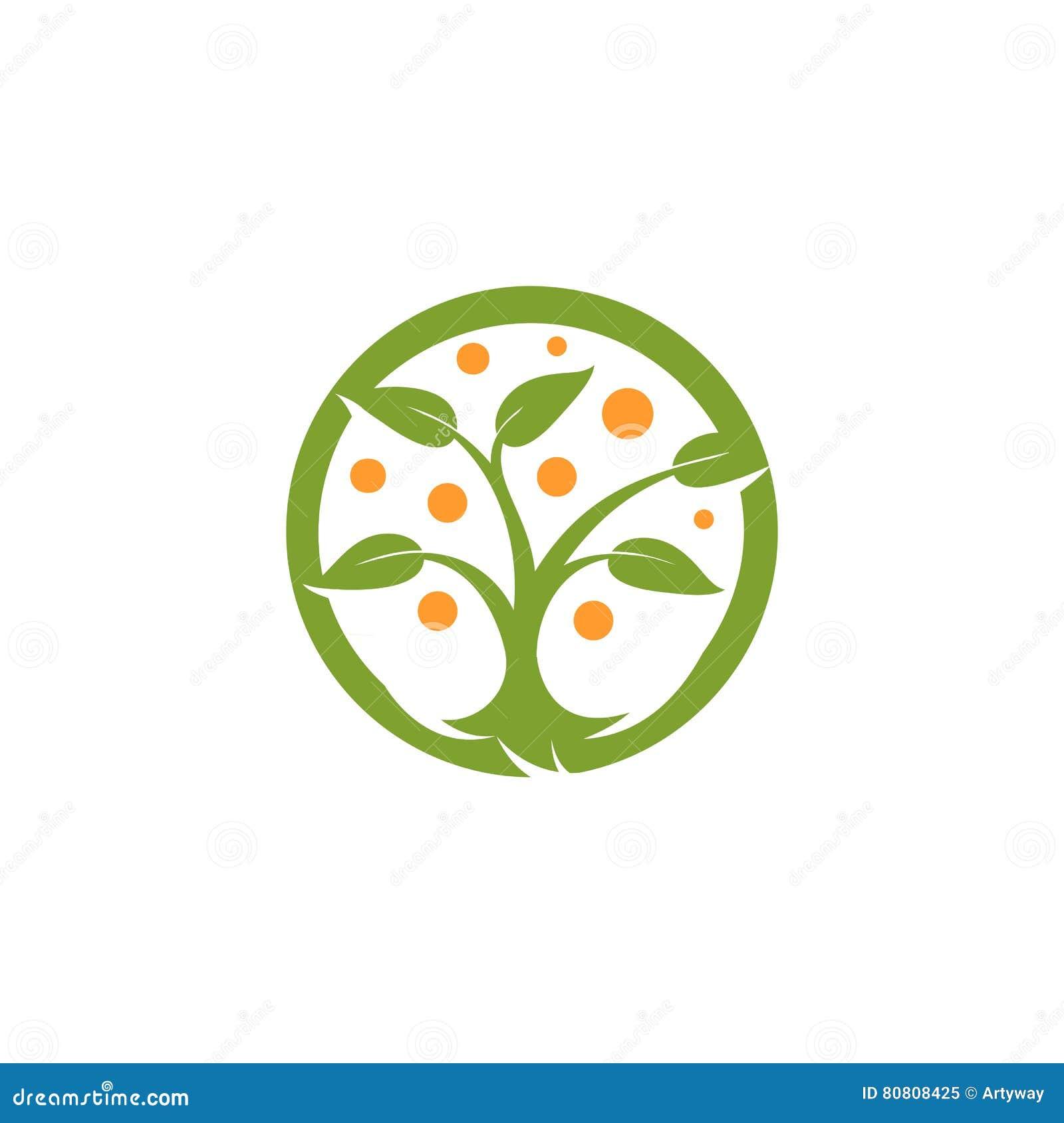 Verde astratto isolato di forma rotonda, logo arancio dell albero di colore Logotype naturale dell elemento Foglie ed icona del t