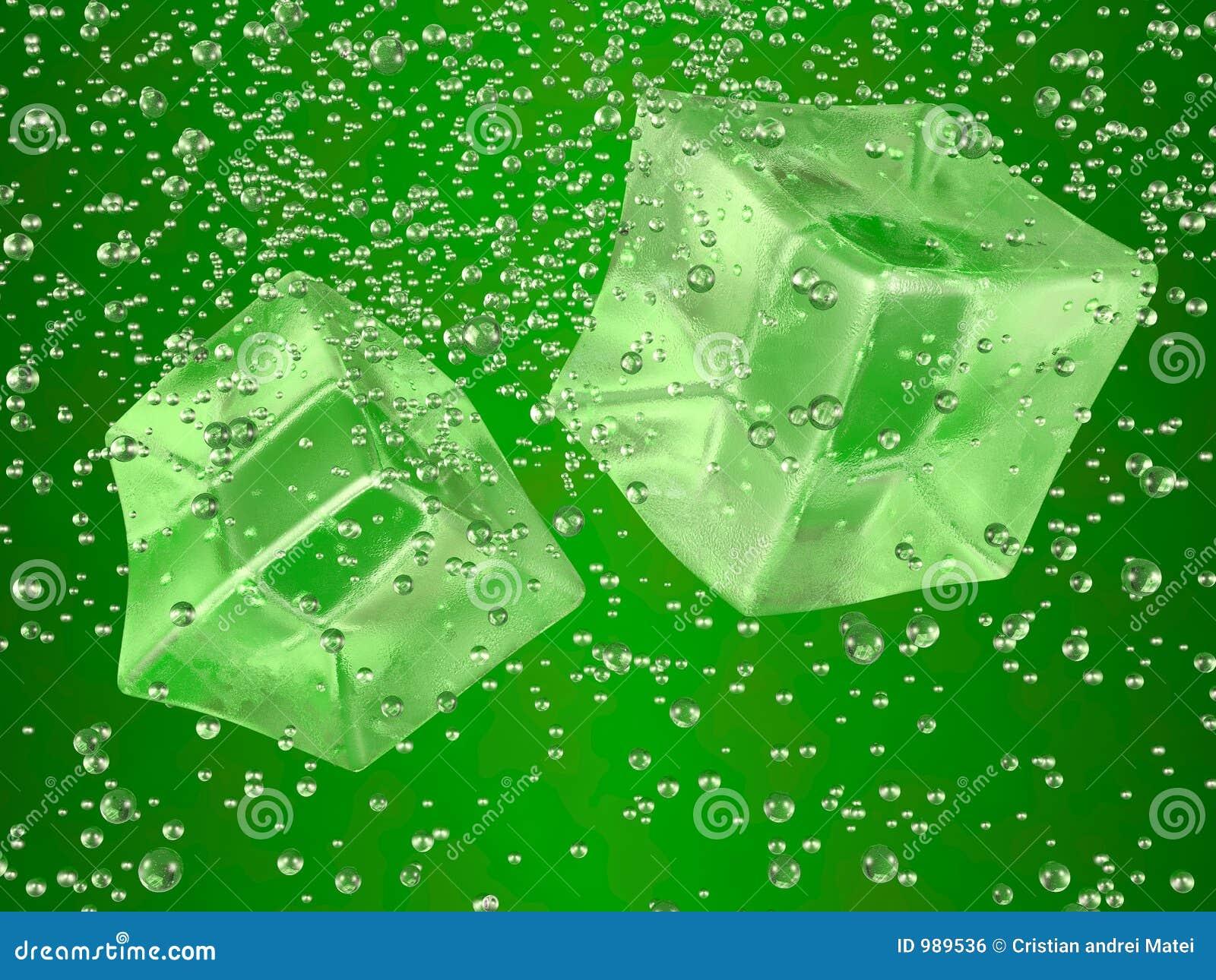 Verde de los cubos de hielo