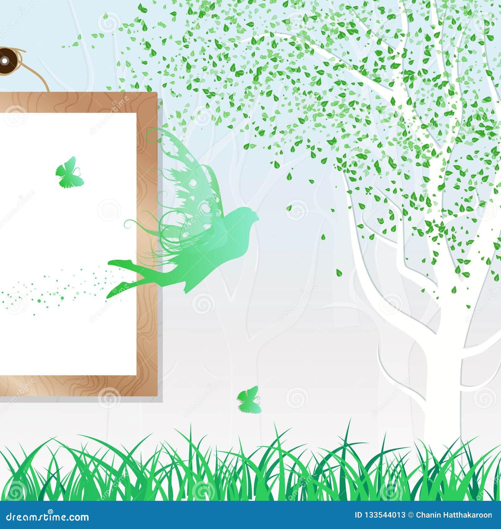 Verde di caduta c fresca dello spargimento delle foglie del fatato, della farfalla e della natura