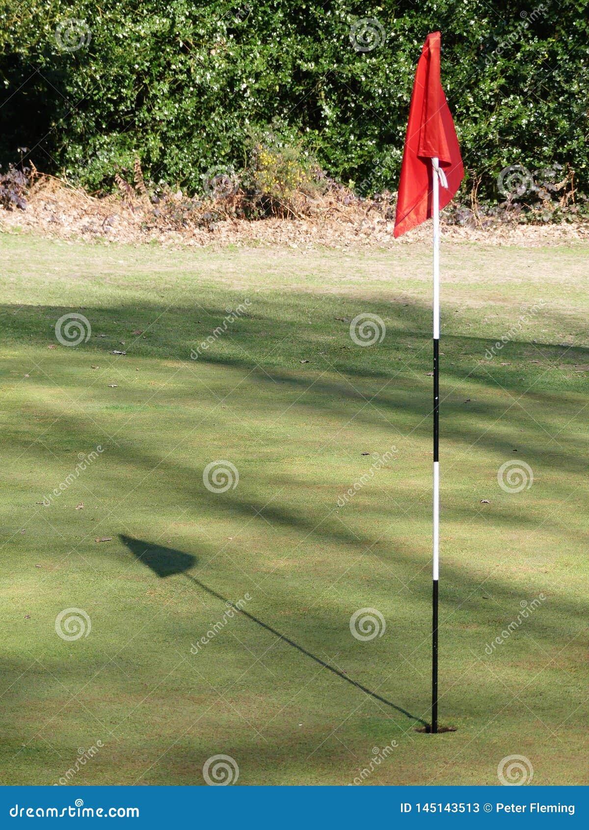 Verde di golf con la bandiera rossa che getta ombra
