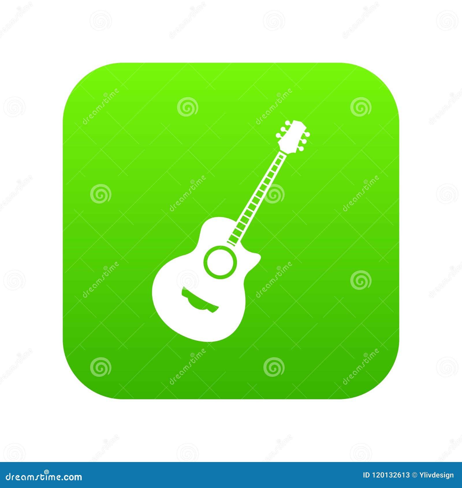 Verde digital del icono clásico de la guitarra