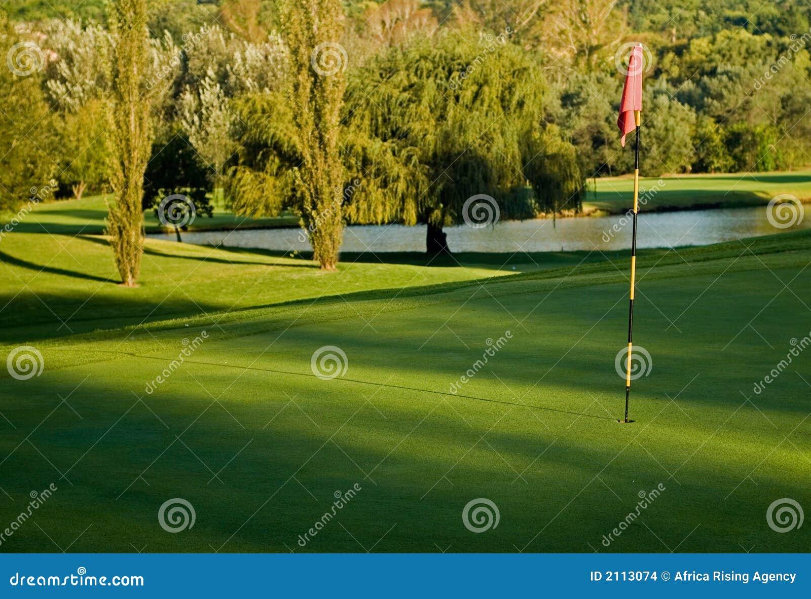 Verde do golfe, bandeira e perigo da água