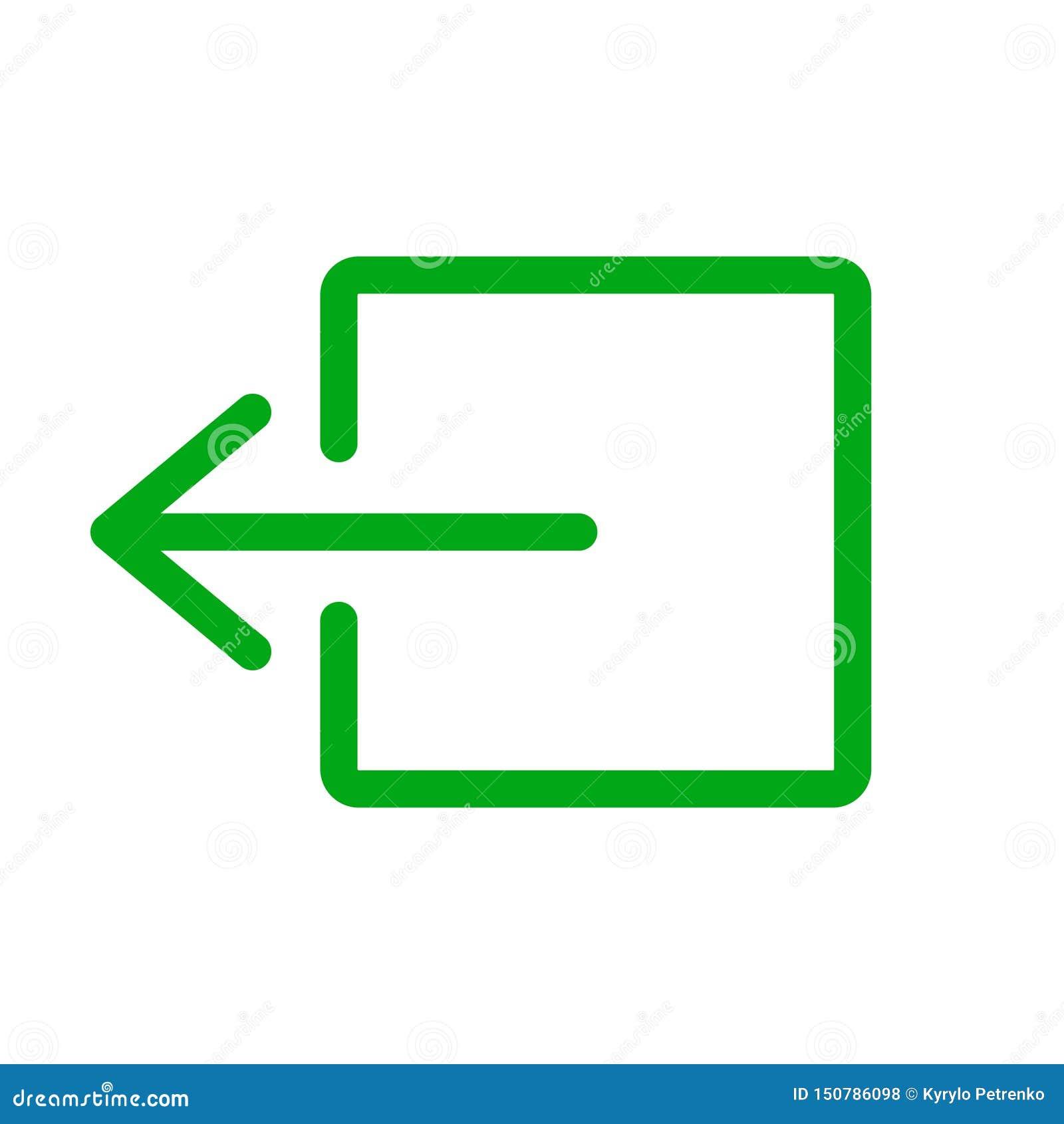 Verde do sinal da saída de emergência no fundo branco