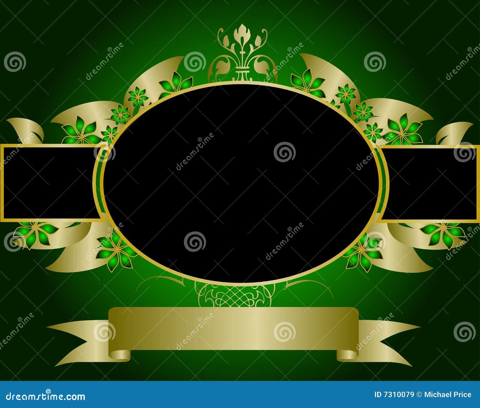 Verde e disegno floreale dell oro