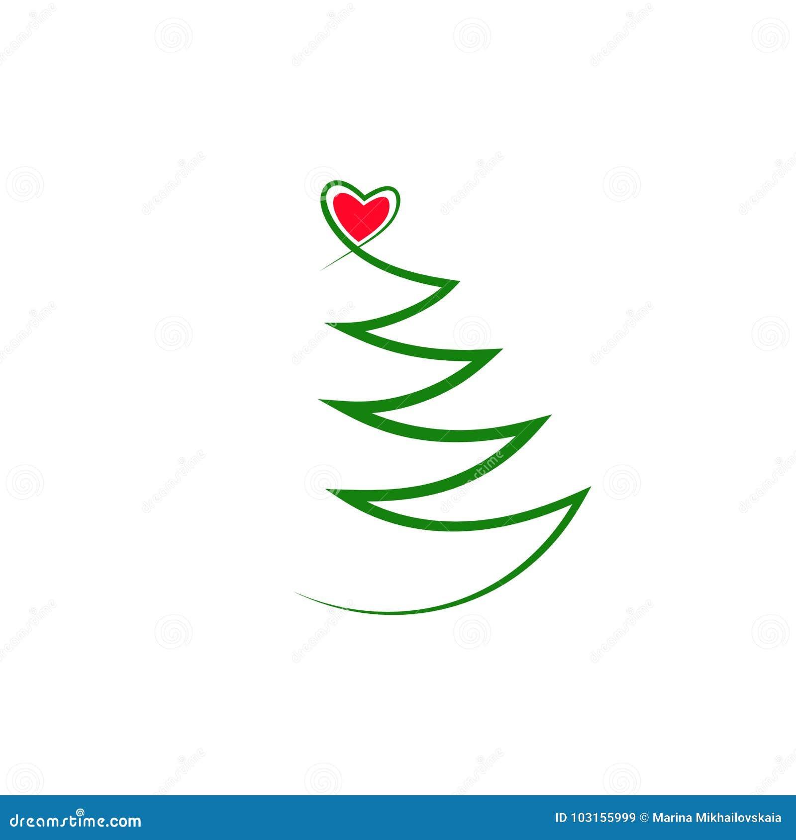 Verde Simple Dibujo Del Contorno De Un árbol De Navidad Con Un