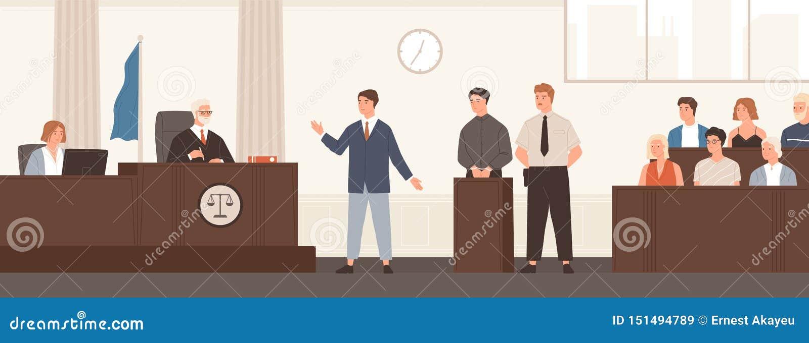 Verdediger of advocaat die toespraak in rechtszaal voor rechter en jury geven Wettelijke defensie, openbare hoorzitting en misdad