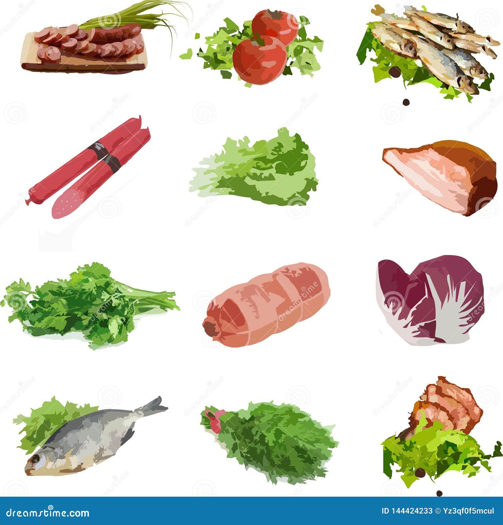Verdes da carne dos vegetais do alimento, peixes