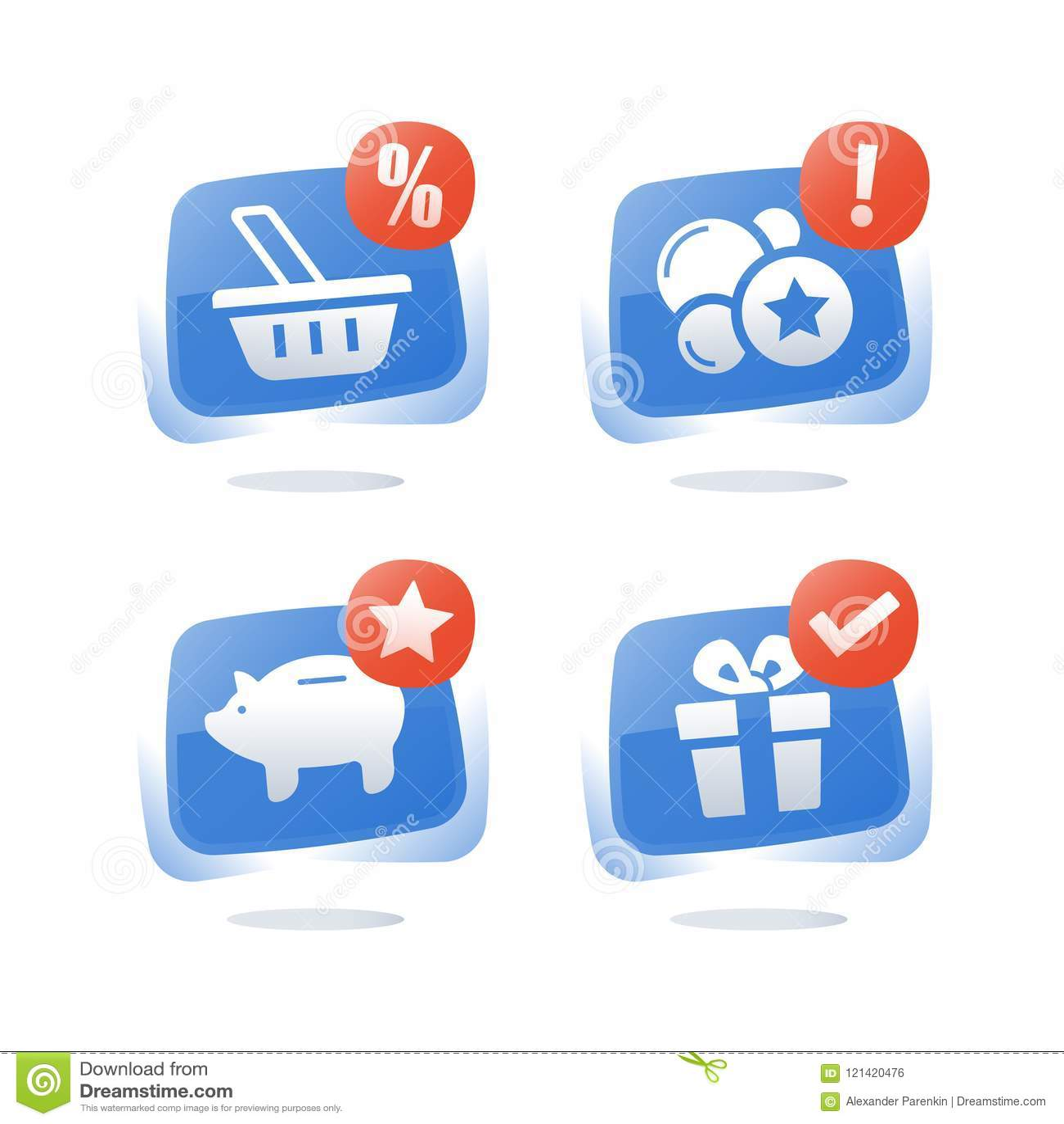 Verdien punten en krijg beloning, loyaliteitsprogramma, kortingscoupon, de besparingen van het spaarvarken, koop gift, contant ge
