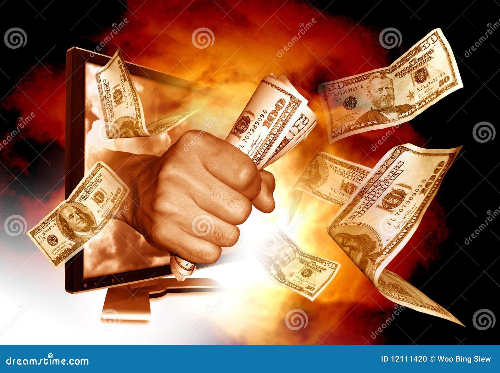 Verdienen des Geldes vom Internet