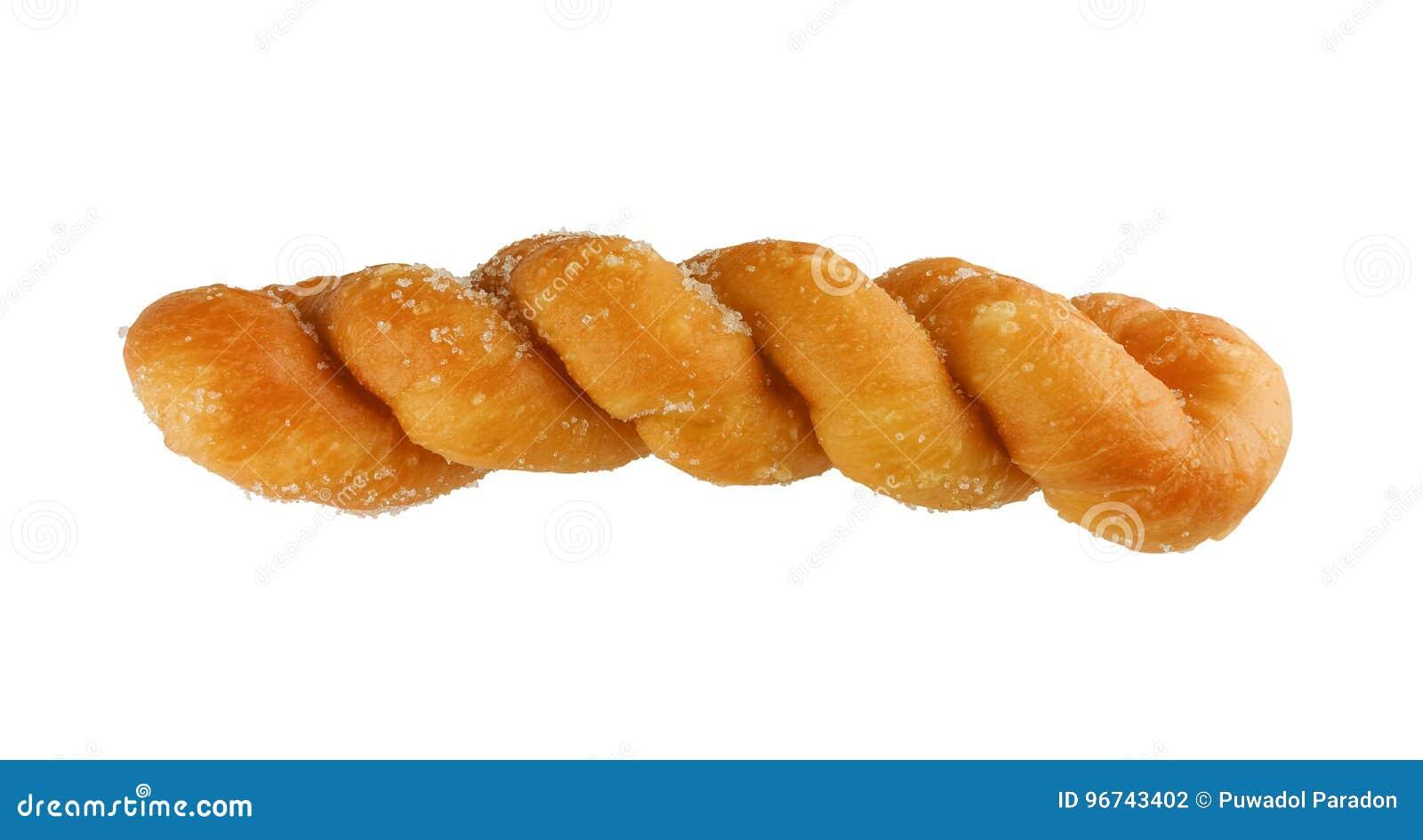 Verdraaid die Sugar Donut op wit met het knippen van weg wordt geïsoleerd