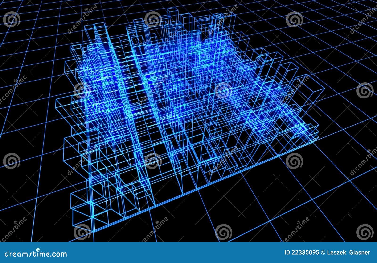 Verdrahten Sie Felddarstellung der Architektur