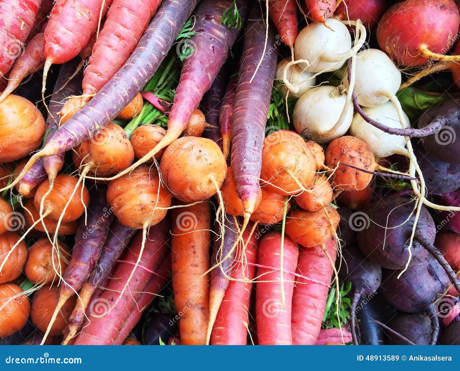 Verduras de raíz coloridas