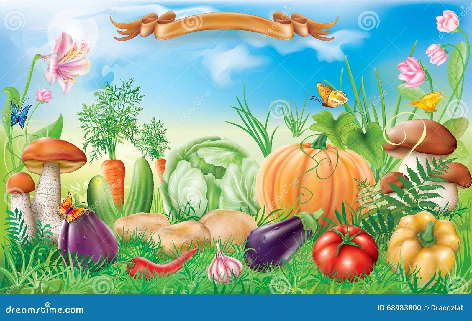 Verduras en un paisaje