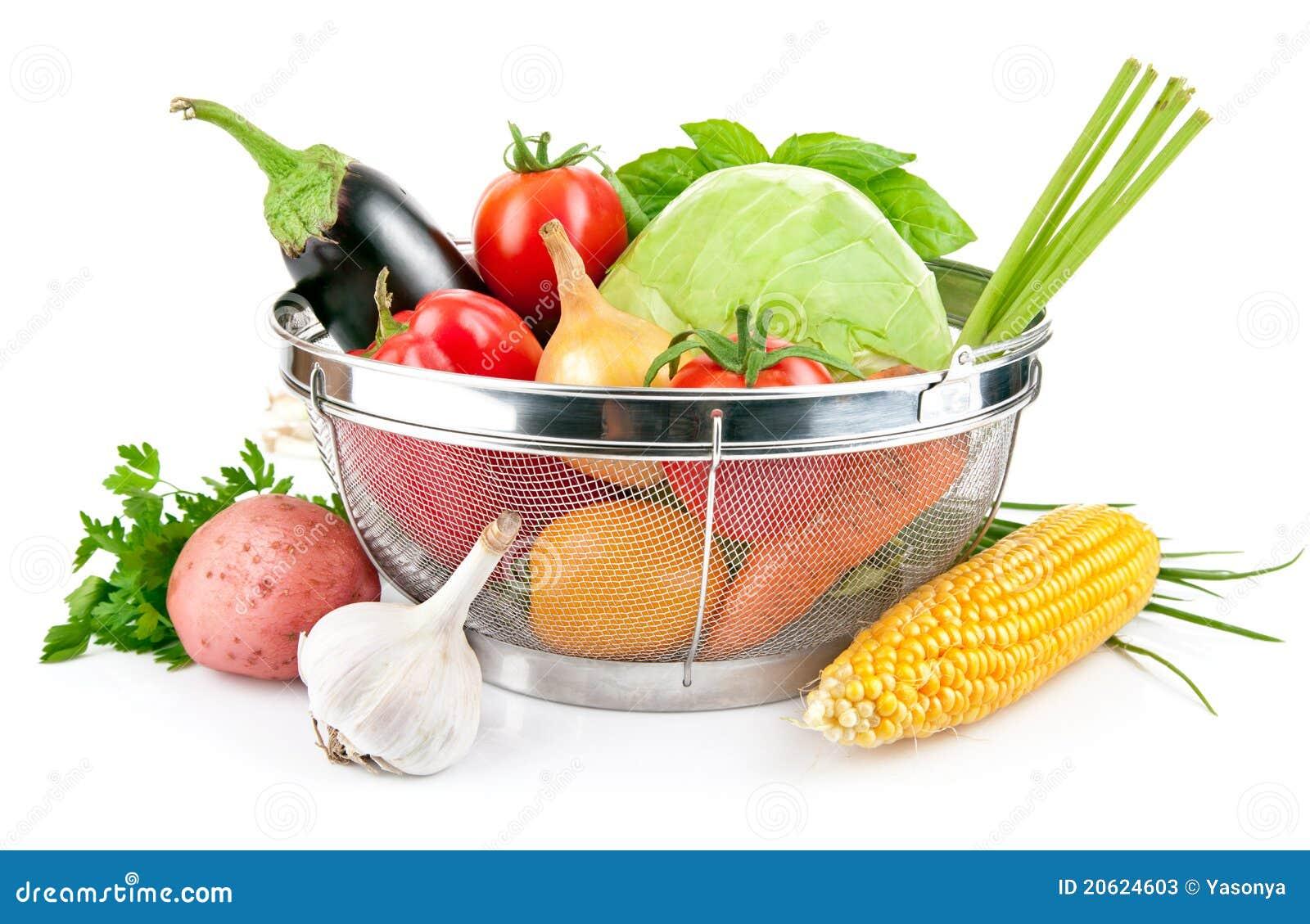 Verduras frescas con las hojas