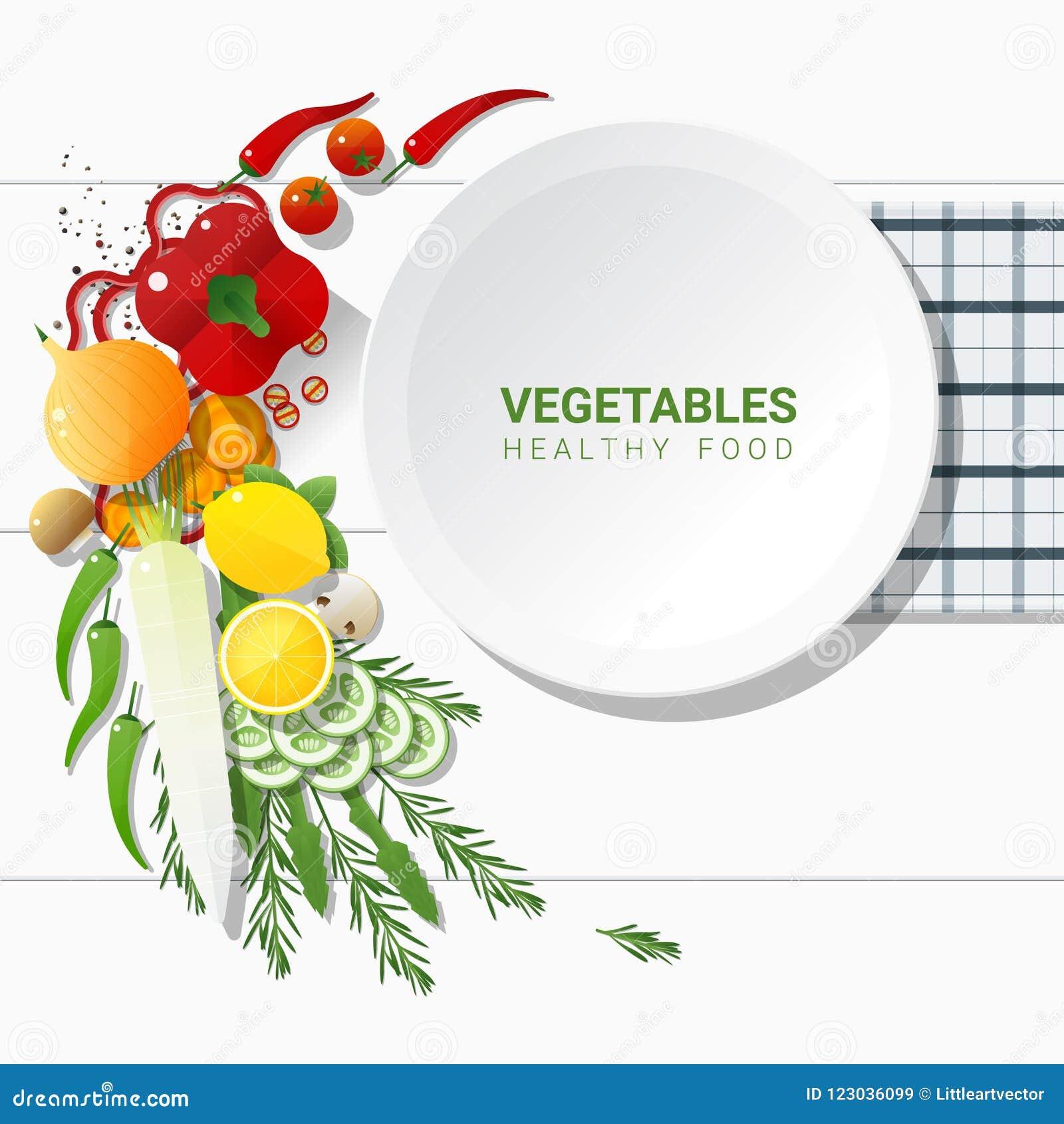 Verduras frescas de la endecha plana en el fondo blanco de la tabla, concepto sano de la comida