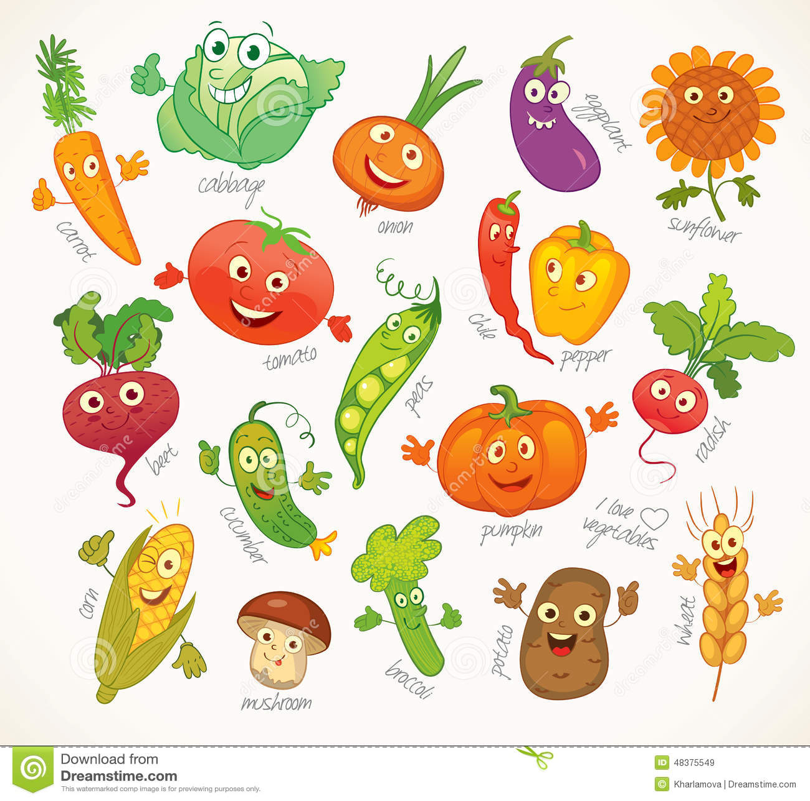Verduras Personaje De Dibujos Animados Divertido Ilustración