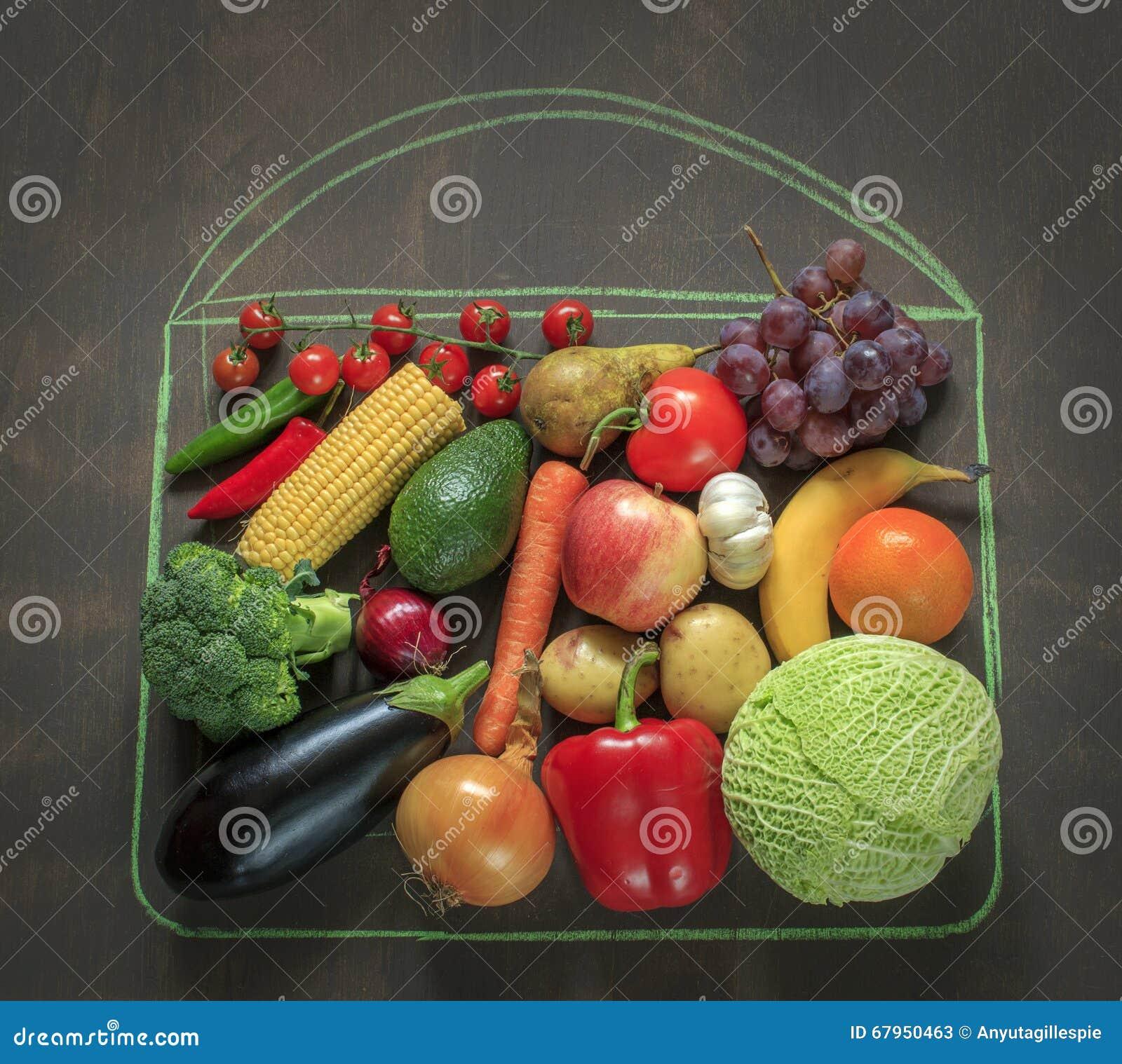 Verduras y frutas de la foto de la comida