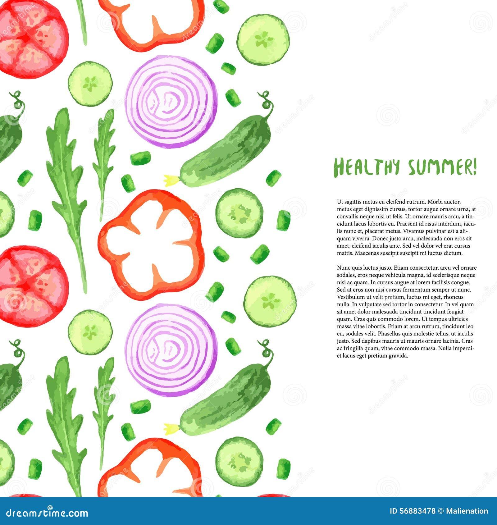 Verdure dell acquerello della pittura della mano messe Confine con la rucola, cetriolo, pomodoro dell acquerello