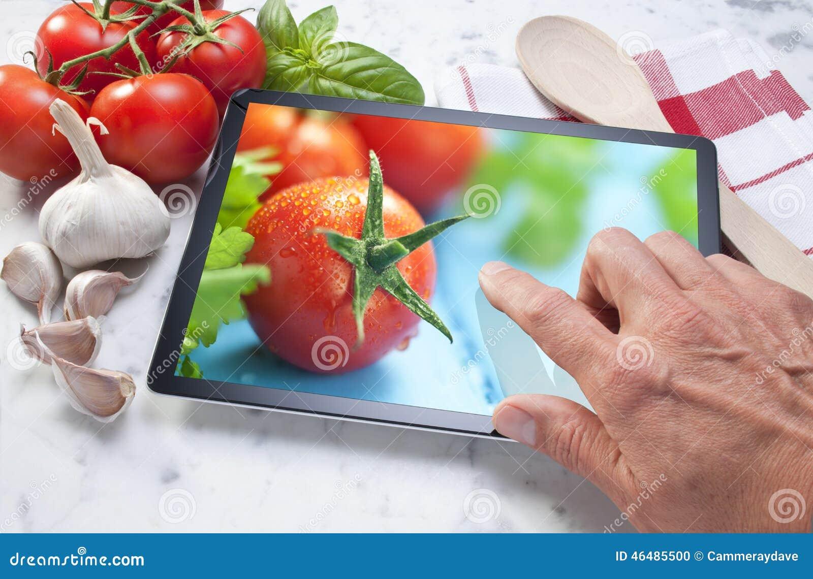 Verdure dell alimento della compressa del computer