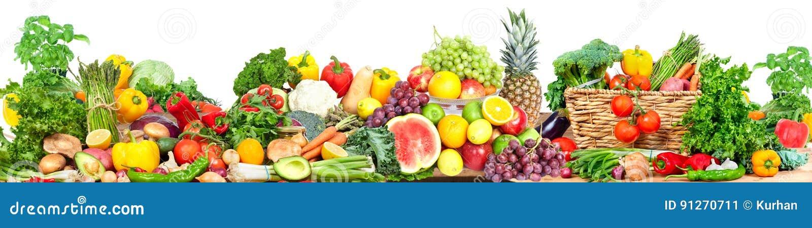 Verdure e fondo di frutti