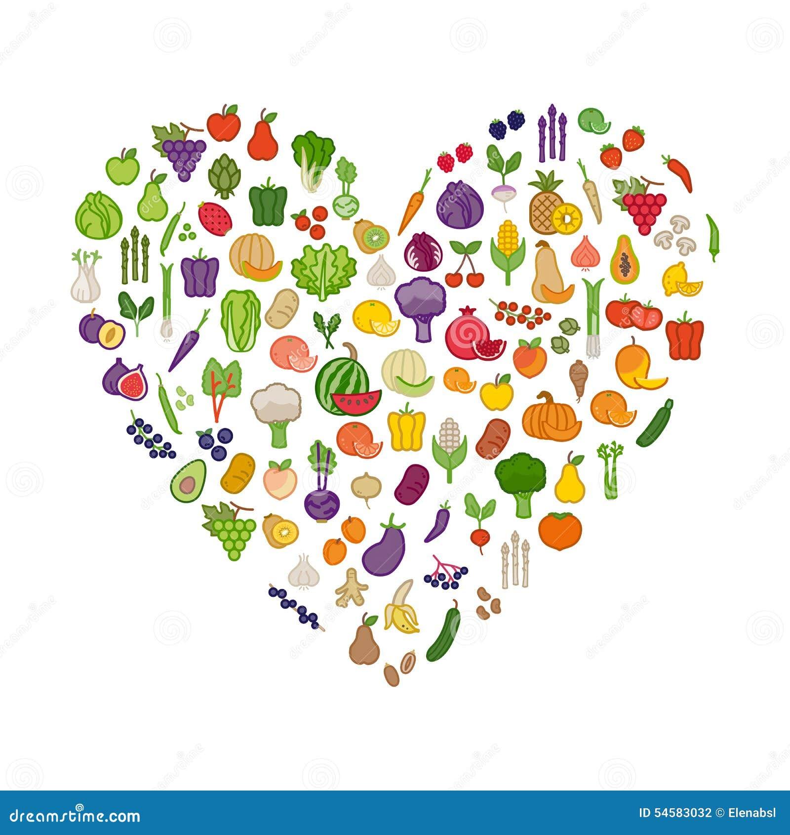 Verdure e frutta in una forma del cuore