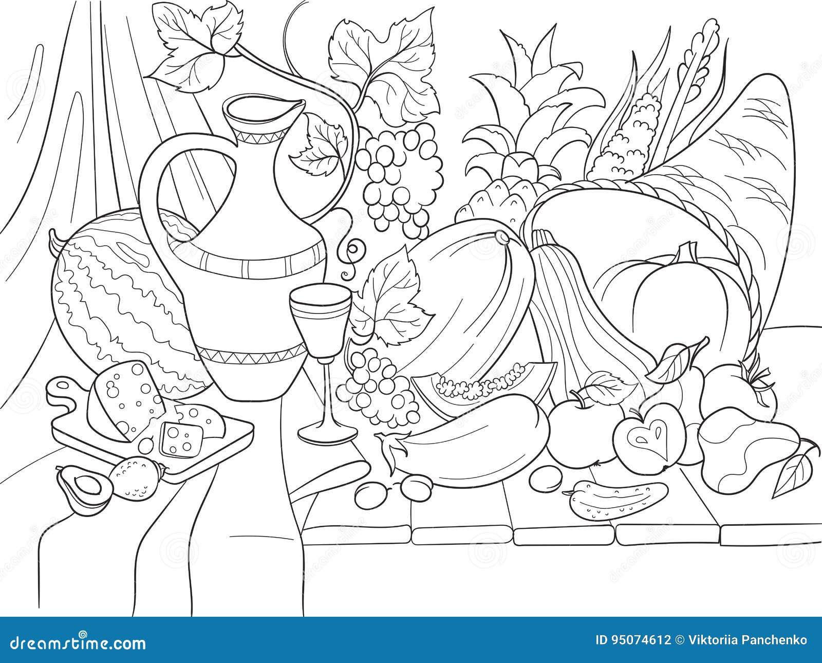 Disegni Da Colorare Natura Morta Frutta.Verdure Ed Illustrazione Di Vettore Di Stile Del Raccolto Di Frutti Natura Morta Di Giorno Di Ringraziamento Vecchia Imitazione D Illustrazione Vettoriale Illustrazione Di Vetro Coloring 95074612