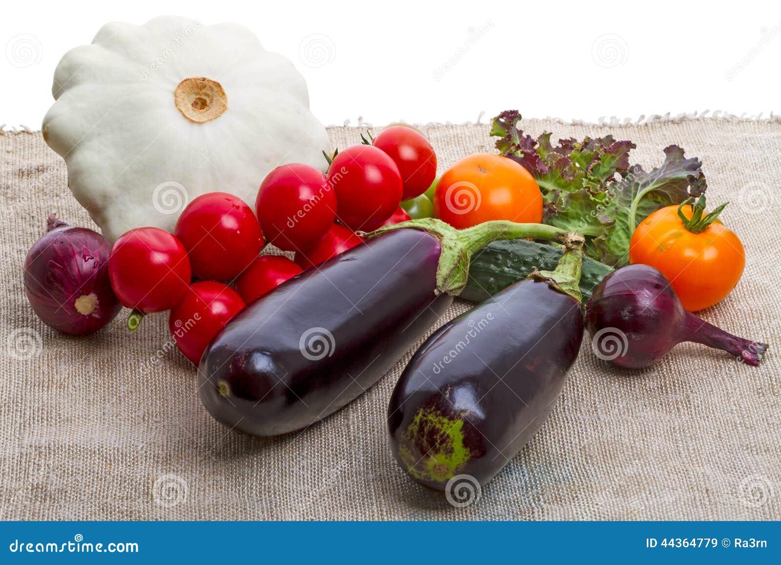 Verdure su tela da imballaggio