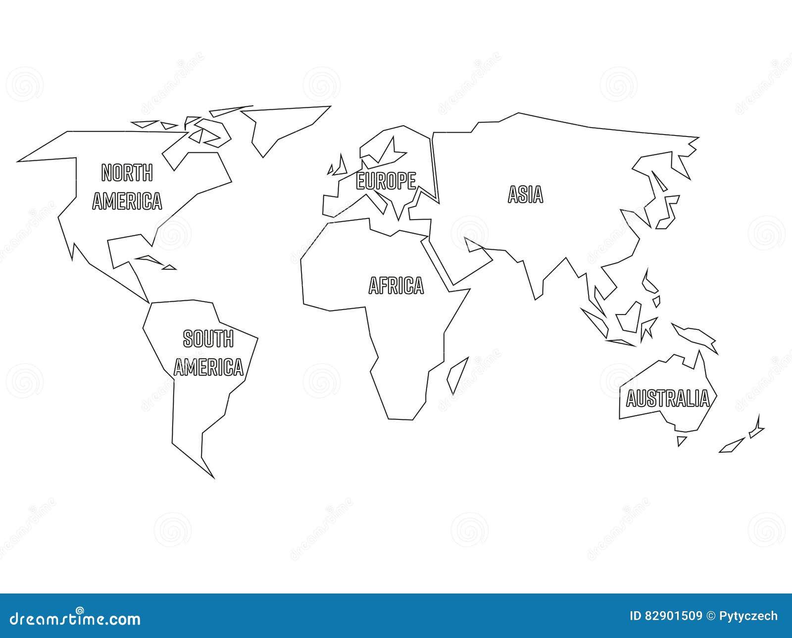 vereenvoudigd zwart die overzicht van wereldkaart aan zes continenten wordt verdeeld eenvoudige. Black Bedroom Furniture Sets. Home Design Ideas