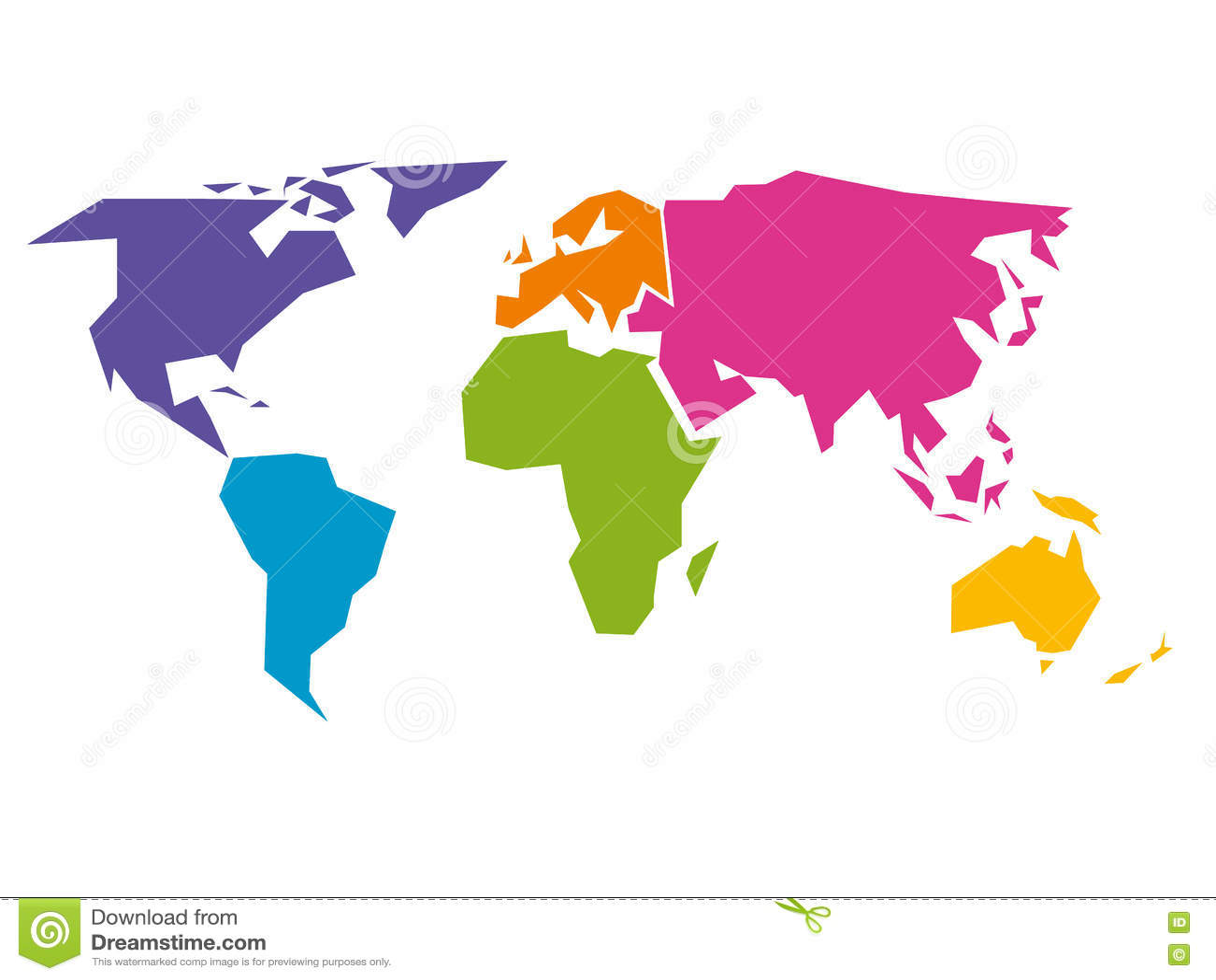 Vereenvoudigde die wereldkaart aan zes continenten in verschillende kleuren wordt verdeeld
