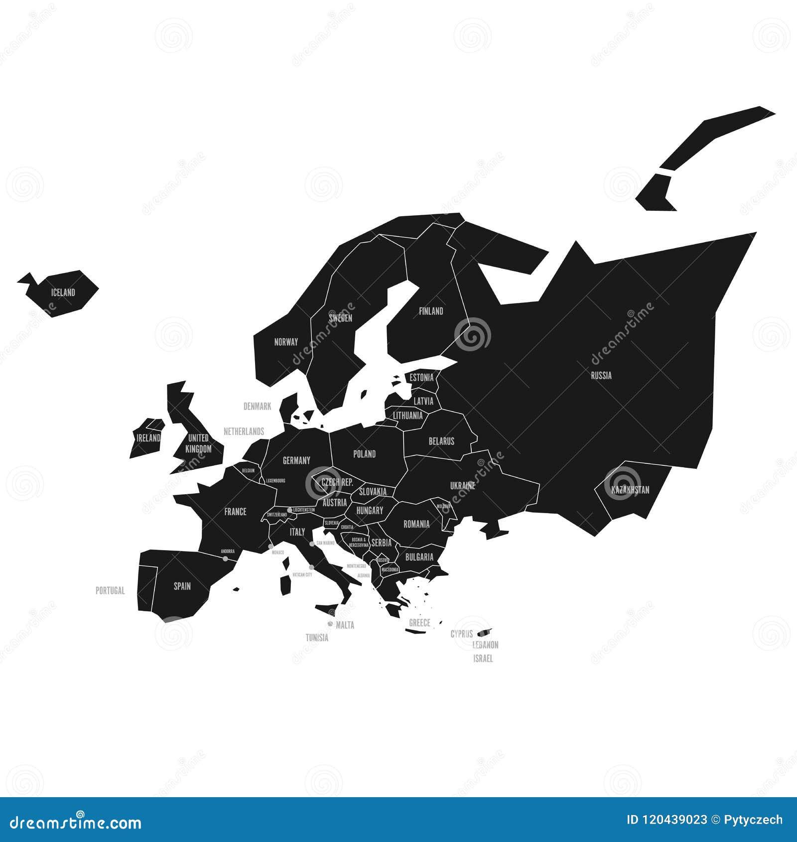Vereenvoudigde Schematische Kaart Van Europa Vector Politieke