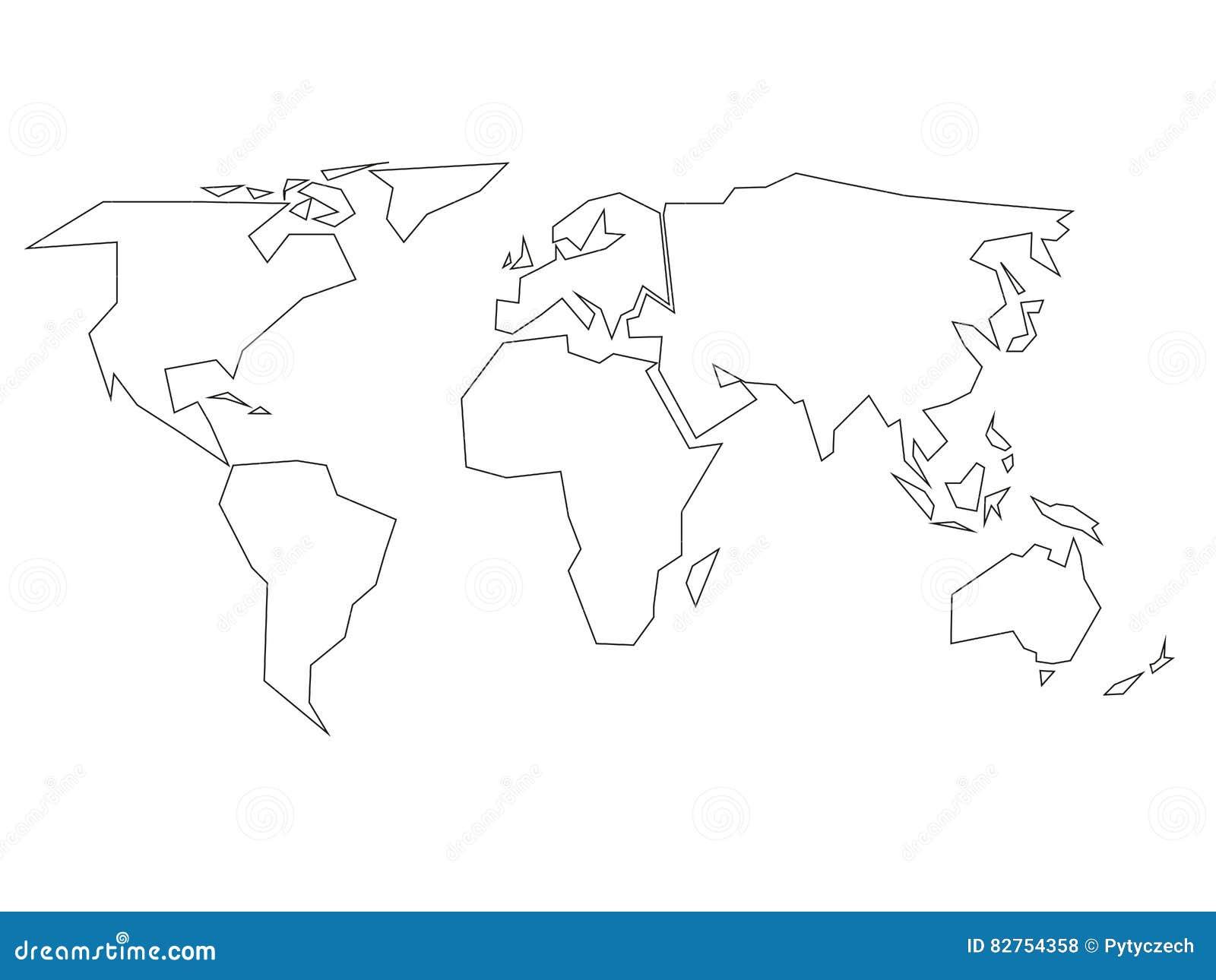 Vereinfachter schwarzer Entwurf der Weltkarte geteilt zu sechs Kontinenten Einfache flache Vektorillustration auf weißem Hintergr