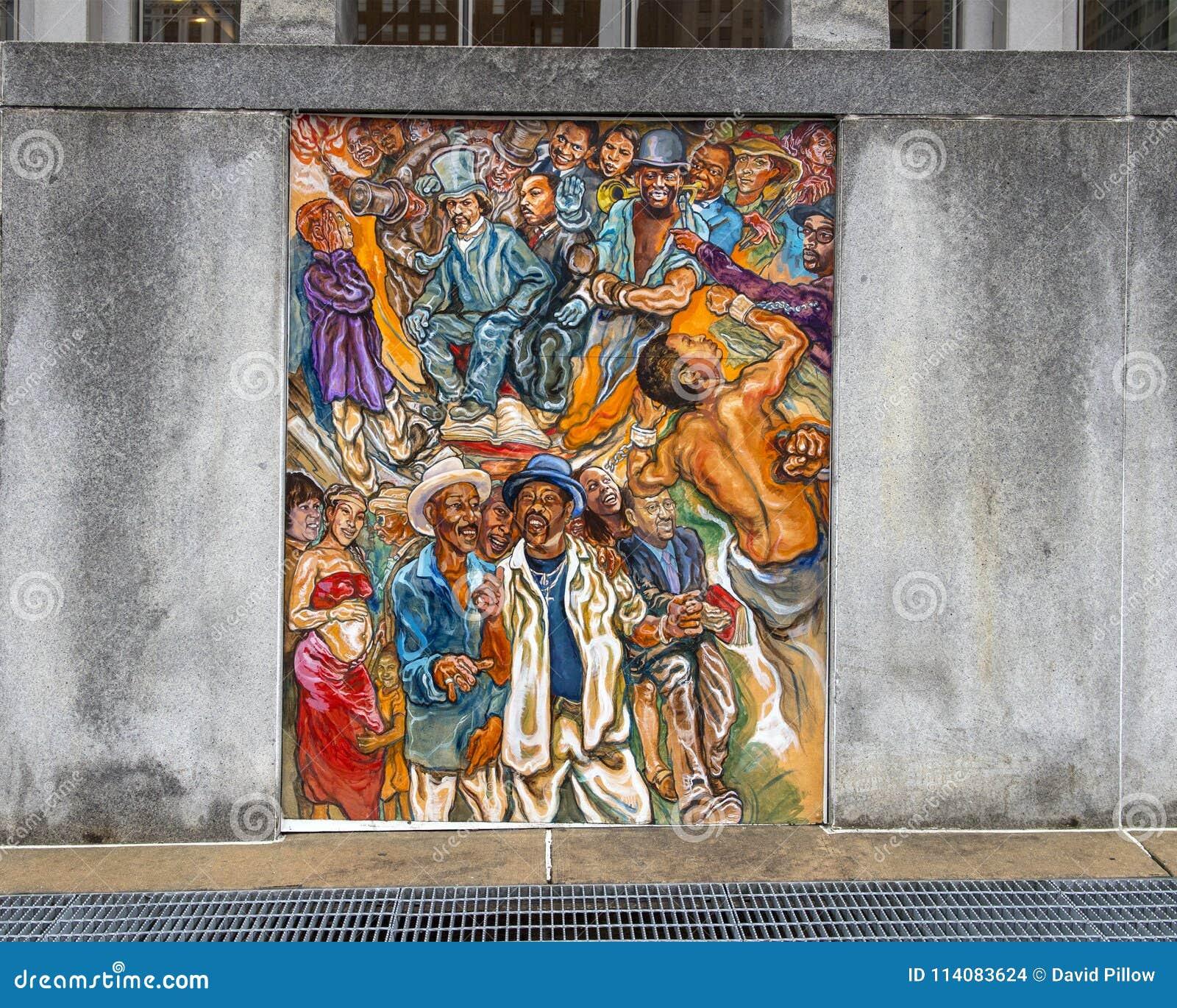 Vereinheitlichung der Kulturen der Nachbarschaft in Philadelphia, des Wandgemäldes durch Joseph und Gabriele Tiberino