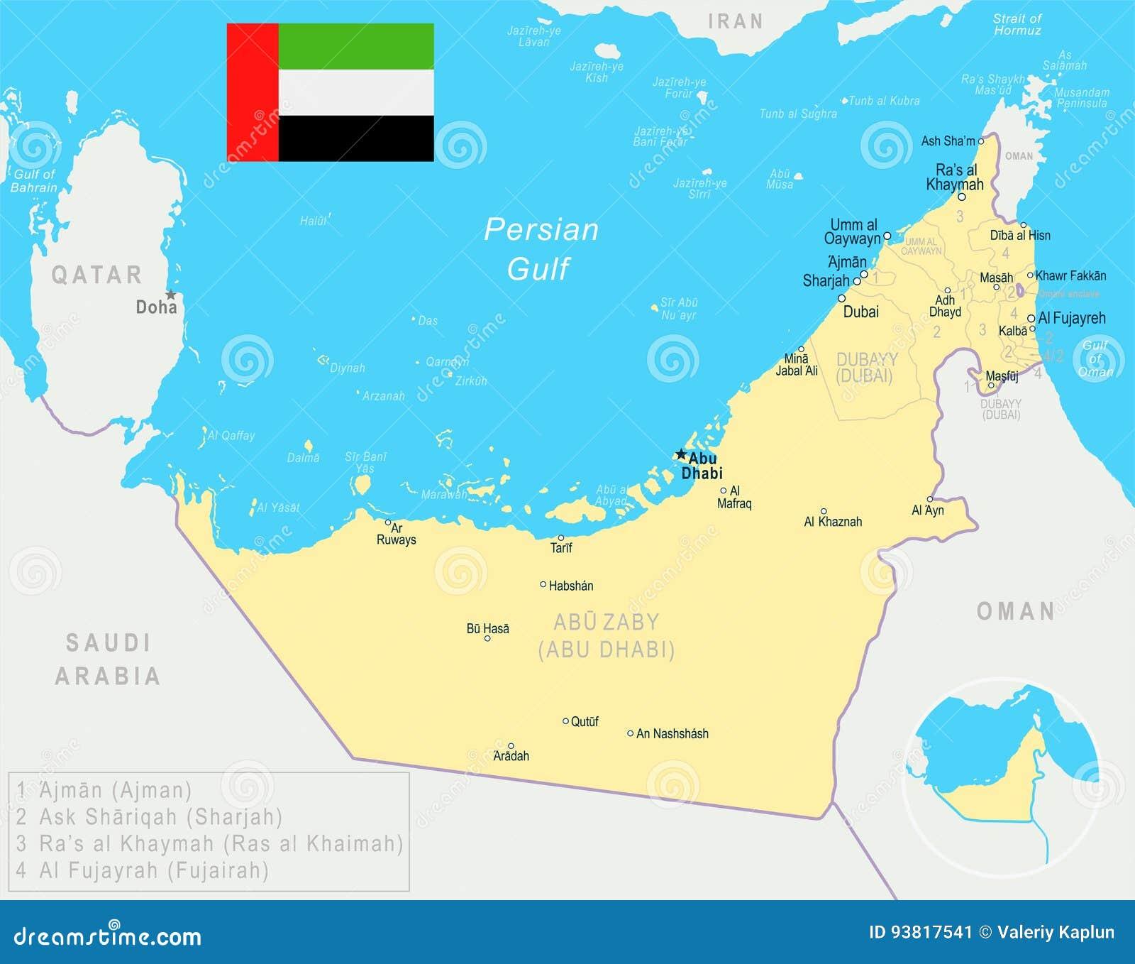 Vereinigte Arabische Emirate Karte Und Flagge Illustration