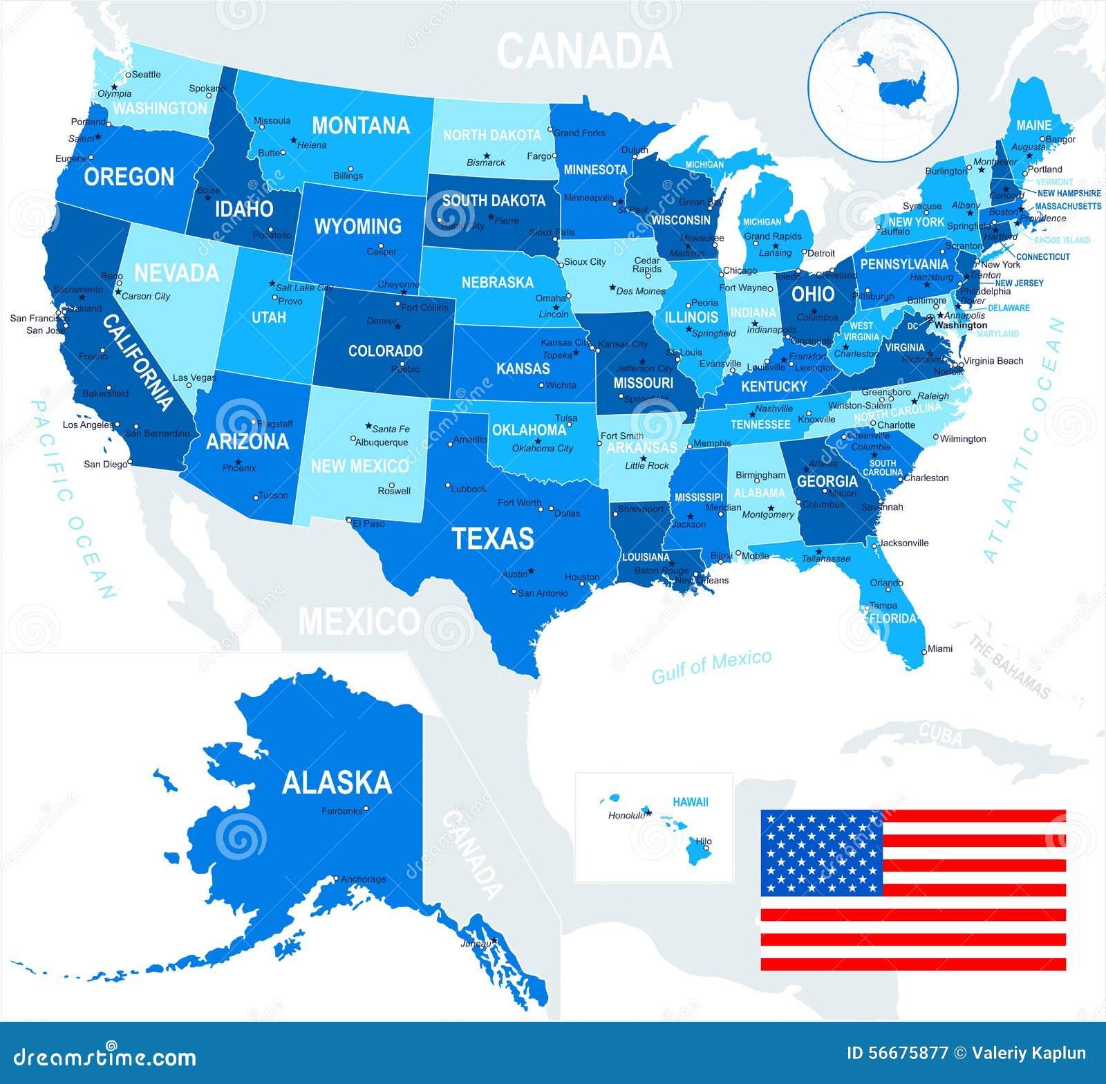 Vereinigte Staaten Usa Karte Und Flagge Illustration Vektor