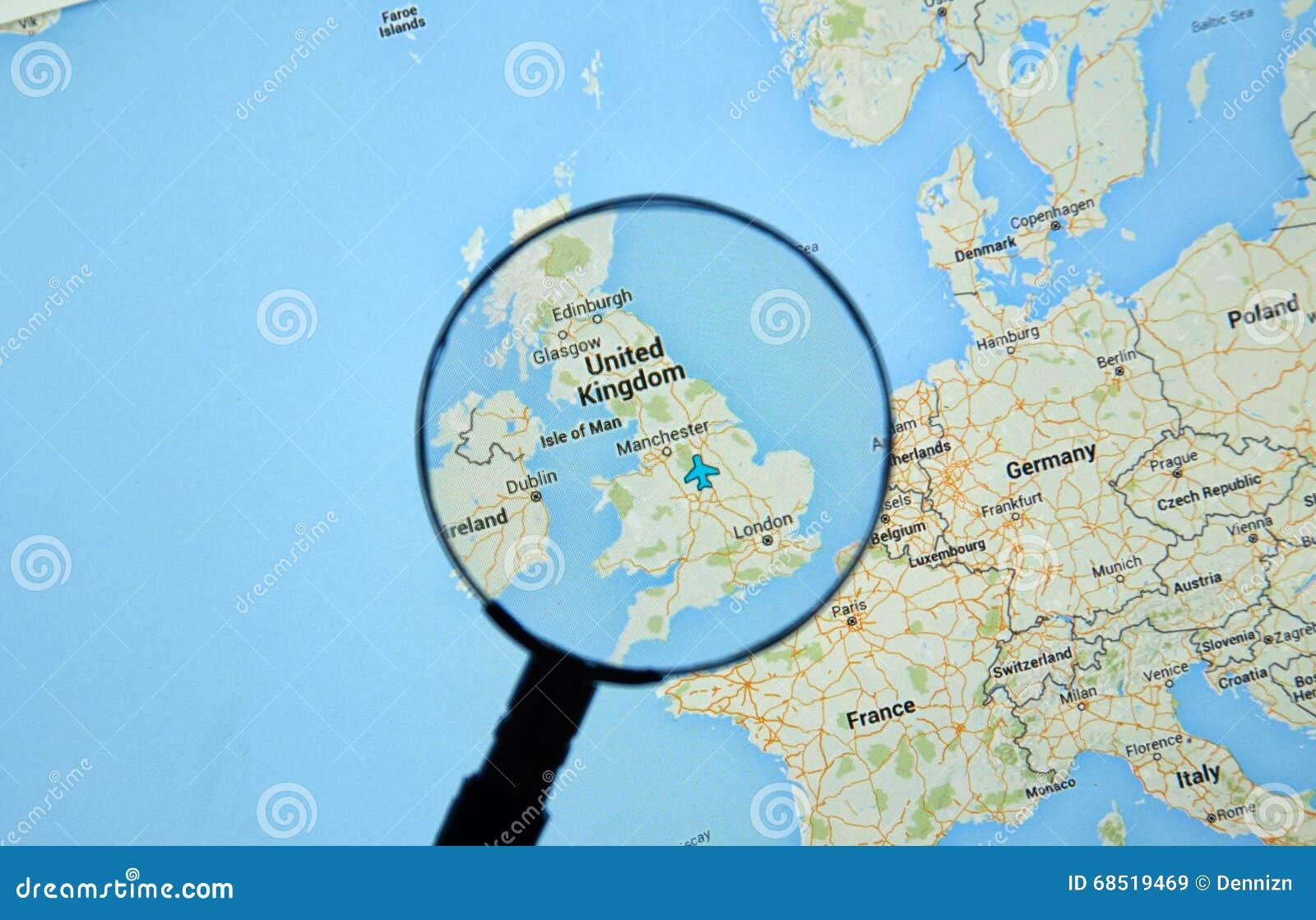 Vereinigtes Königreich Auf Google Maps Redaktionelles Stockbild ...