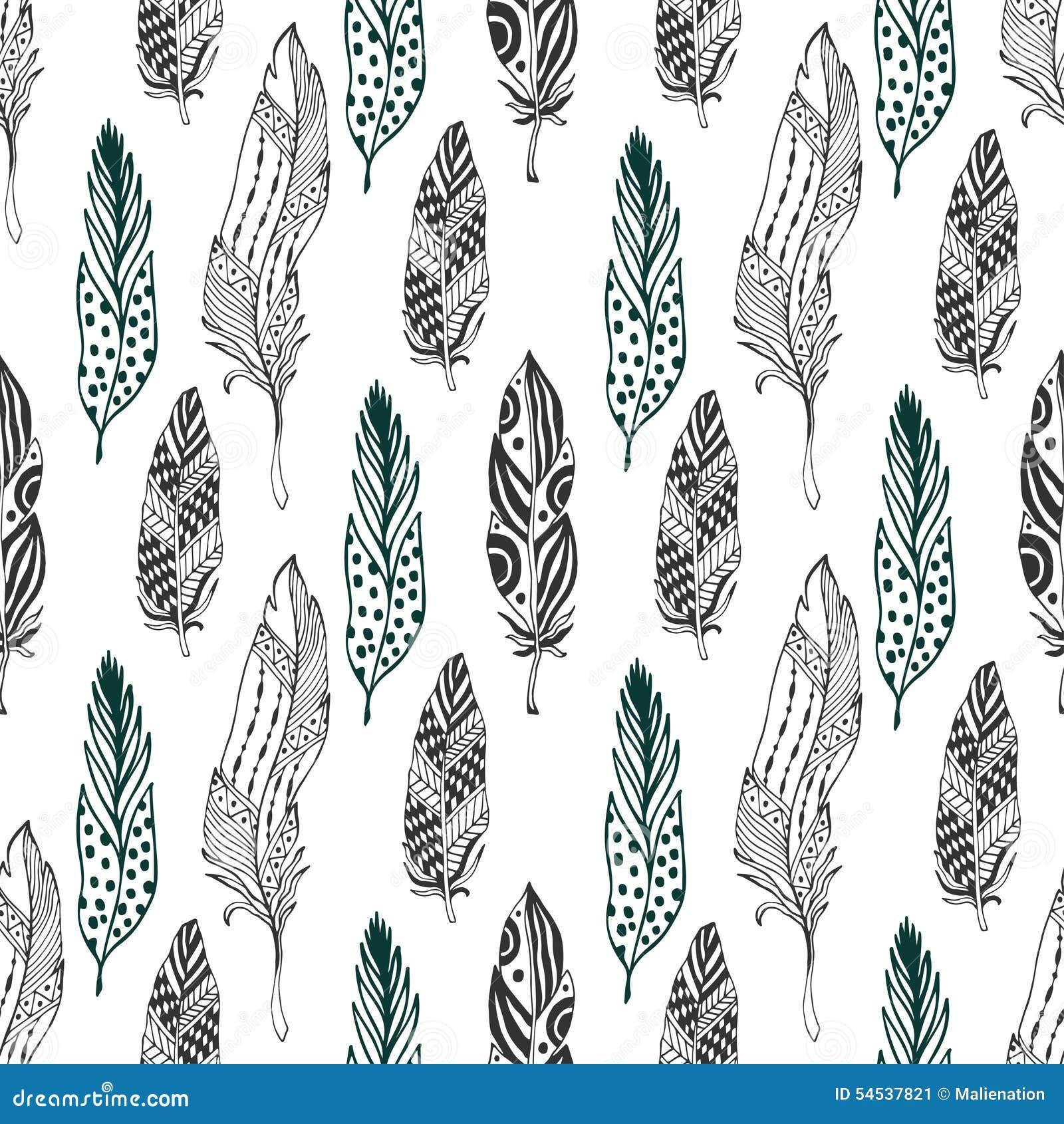 Veren naadloos patroon in etnische stijl Het hand getrokken zentangle patroon van het krabbelornament met vectorveer
